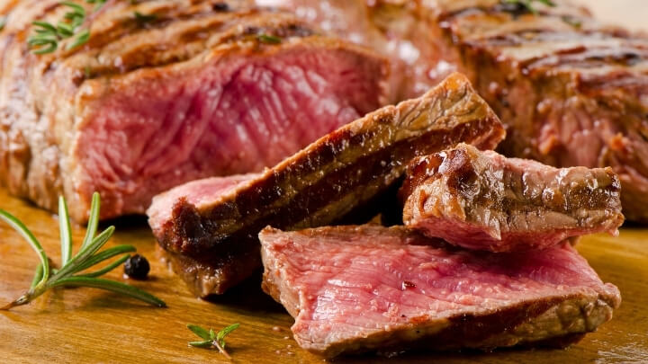 Slices of red meat cooked to perfection