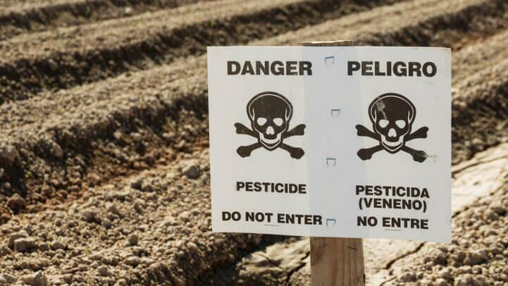 A danger sign warning of pesticide
