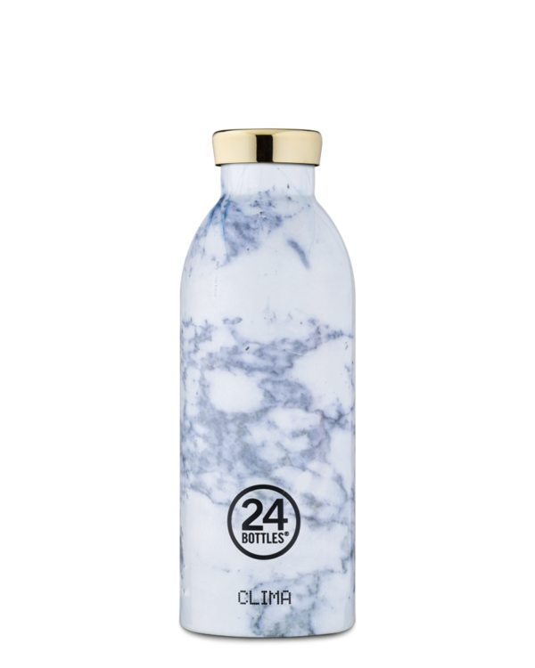 White Marble Reusable Stainless Steel Water Bottle