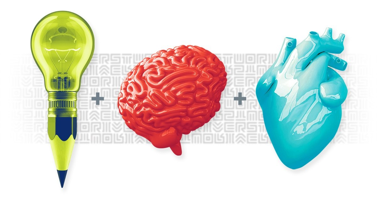 Lightbulb, brain and heart graphic