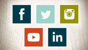 Facebook, Twitter, Instagram, YouTube, LinkedIn graphic icons
