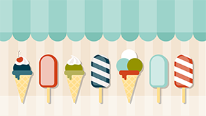 line of ice cream cones and popsicles