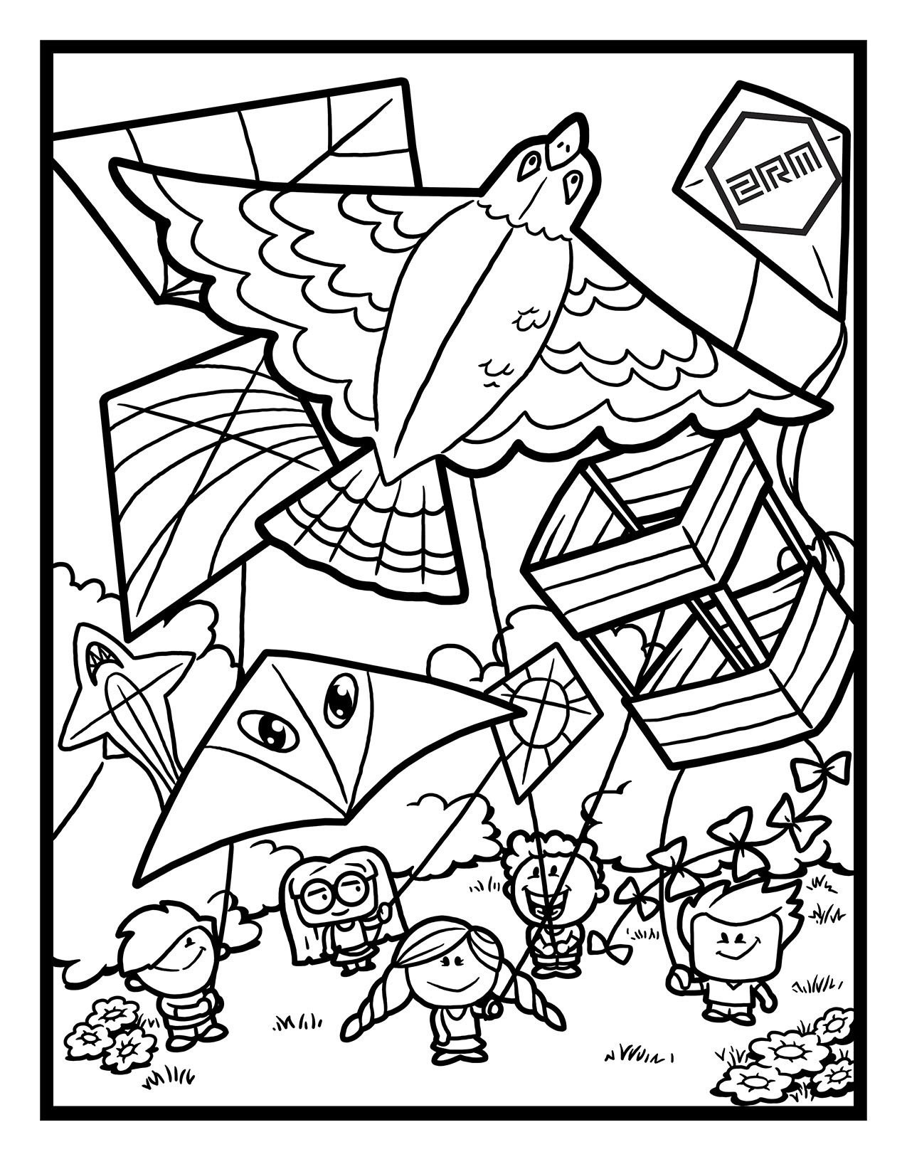 Two Rivers Marketing Flying Kites Coloring Page