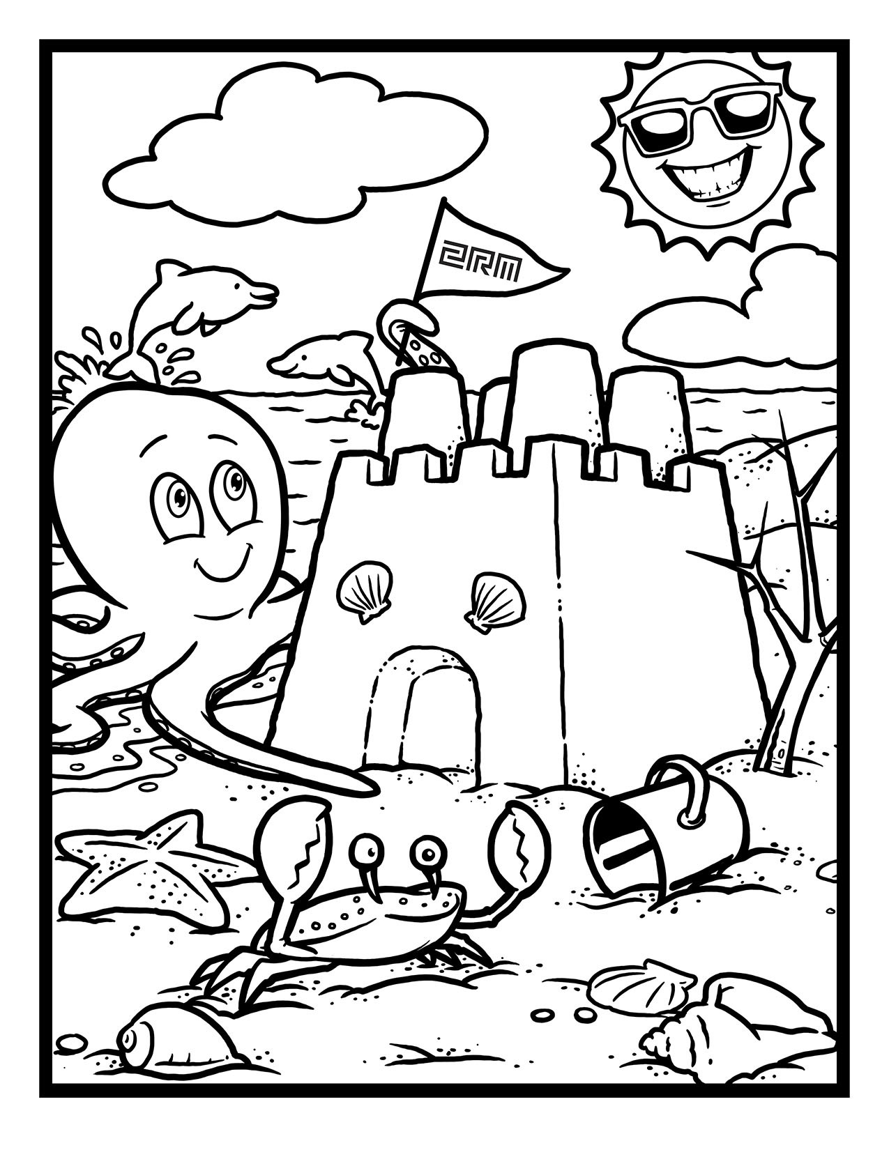 Two Rivers Marketing Sand Castle Coloring Page