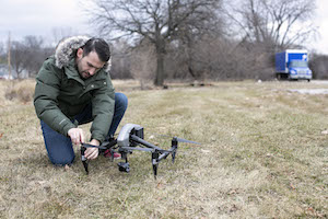Videographer Max working with drone