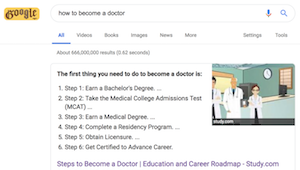 screenshot of google featured snippet