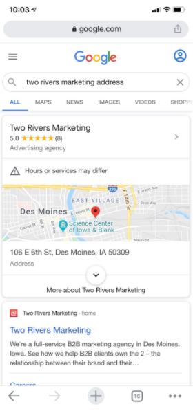 Two Rivers Marketing Google position zero