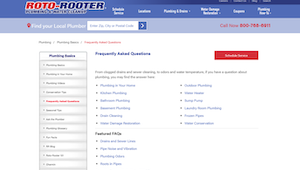 Roto Rooter FAQ page on website