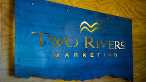 Blue Two Rivers Marketing Sign