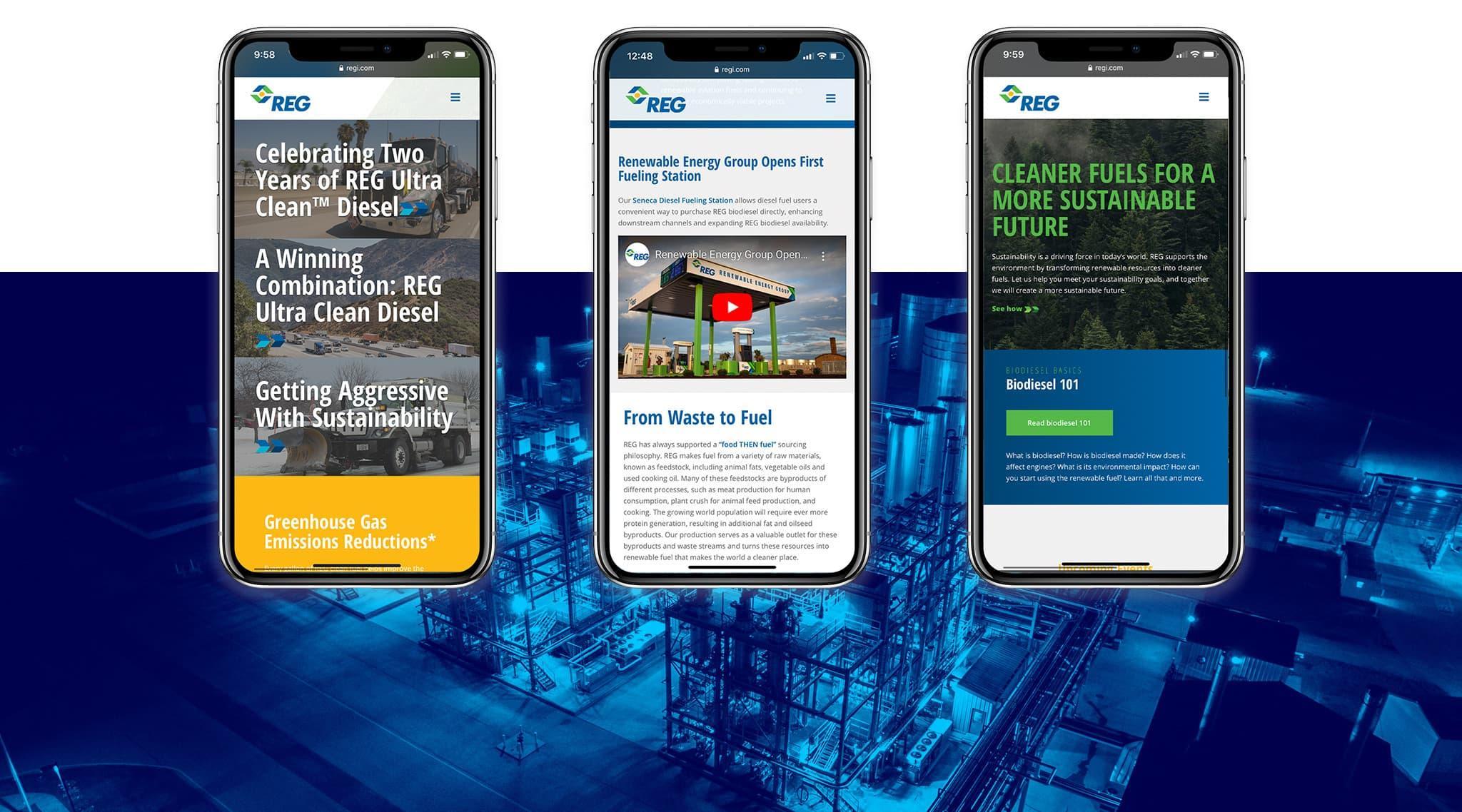 REG mobile website screen captures