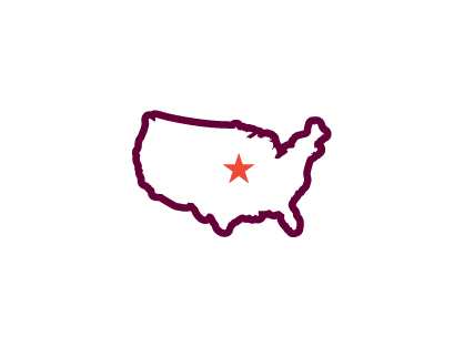 Icon of USA with a star over Iowa