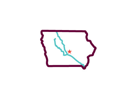 Icon of Iowa and their two main rivers