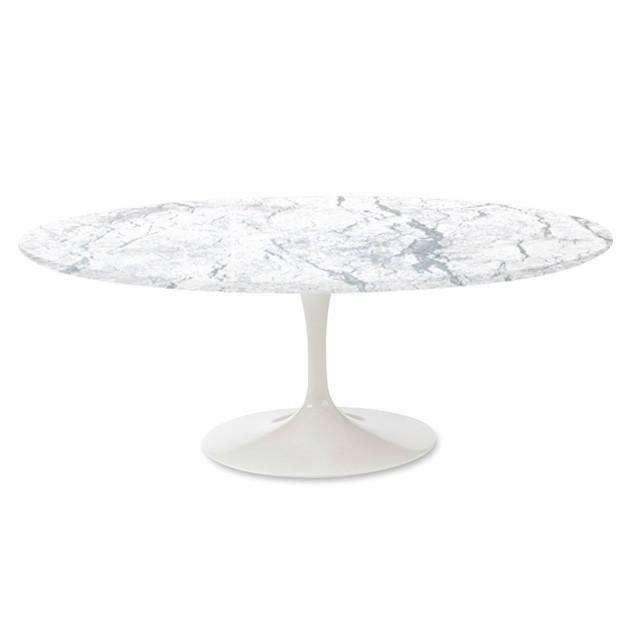 Mesa de comedor Tabla del tulipán Oval Tapa de mármol blanco de mesa blanco de la pierna