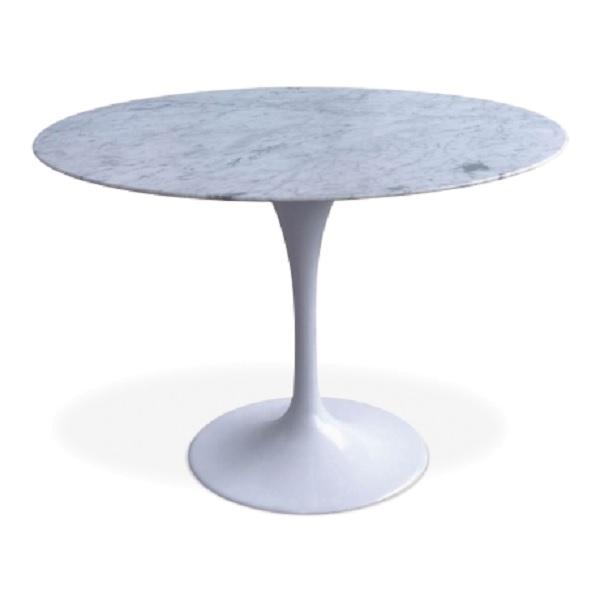 mesa de comedor Tabla del tulipán 100cm Tapa de mármol blanco de mesa blanco de la pierna