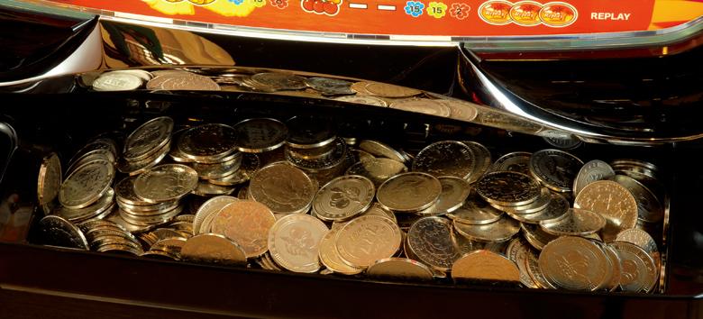 30パイのコインの場合、BIG1回で下皿がほぼ満タンに