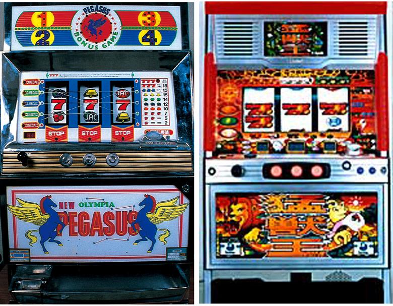 吸い込み方式を採用して大ヒットを記録した1.5号機『ニューペガサス(パル工業・1987年)』(左)。ゲーム数+成立役による強力な天井を搭載していた『猛獣王S(サミー・2002年)』(右)