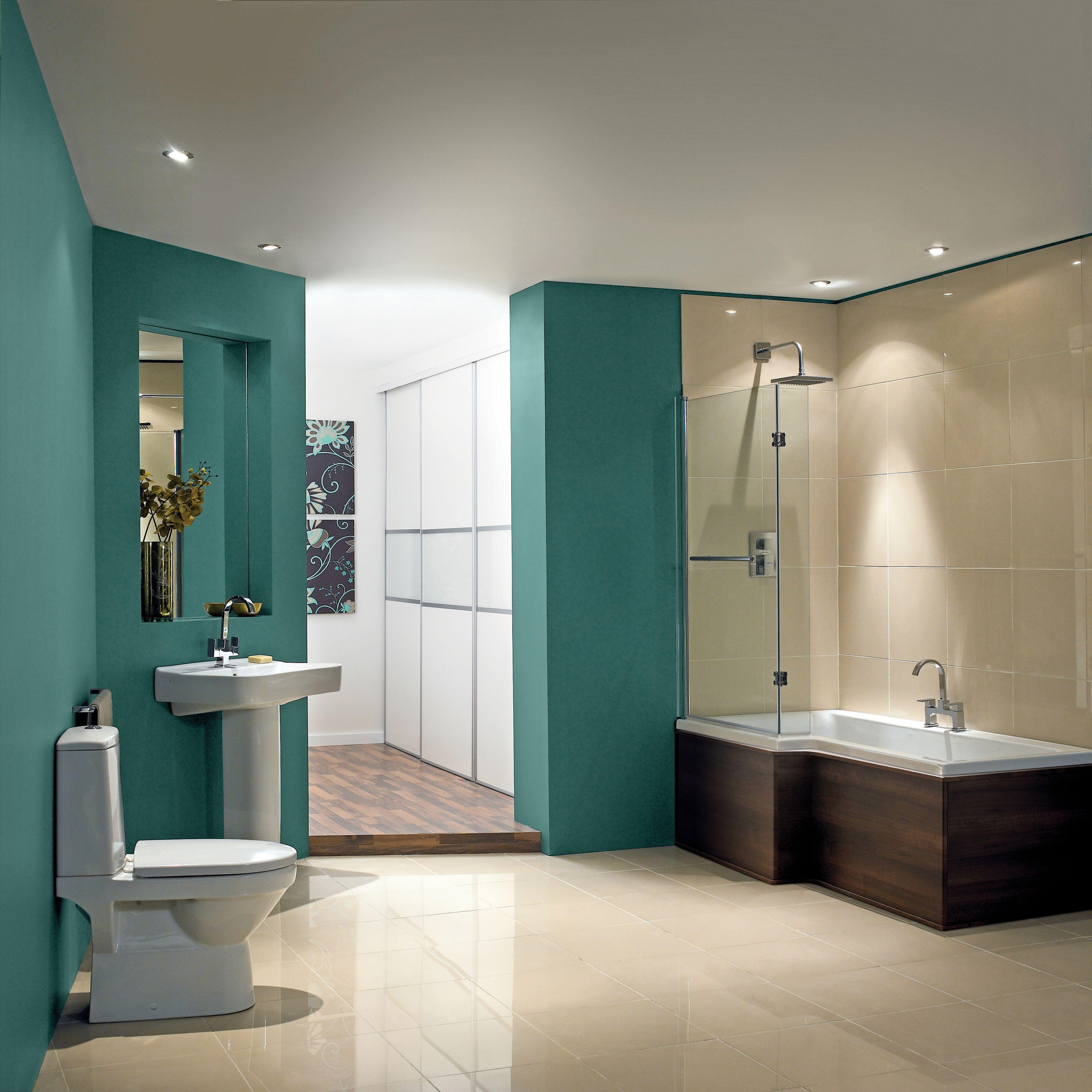 Cooke & Lewis Adelphi LH Supercast Acrylic L Shaped Shower Bath (L ...