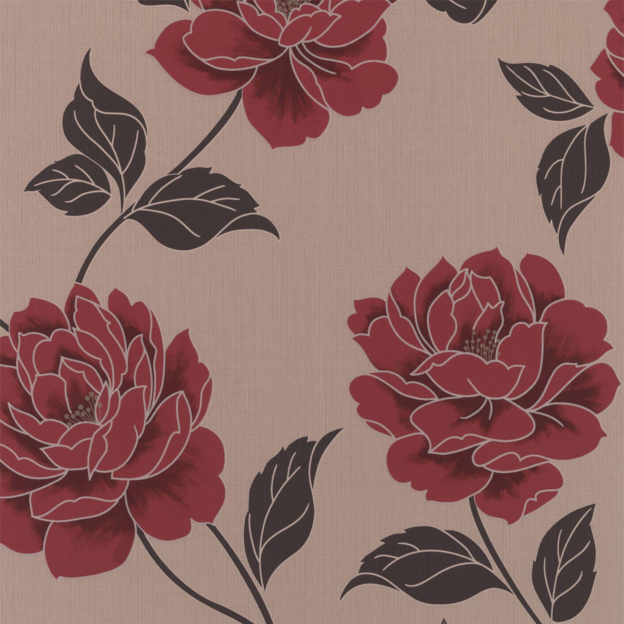 Colours Ella Cream Red Floral Wallpaper