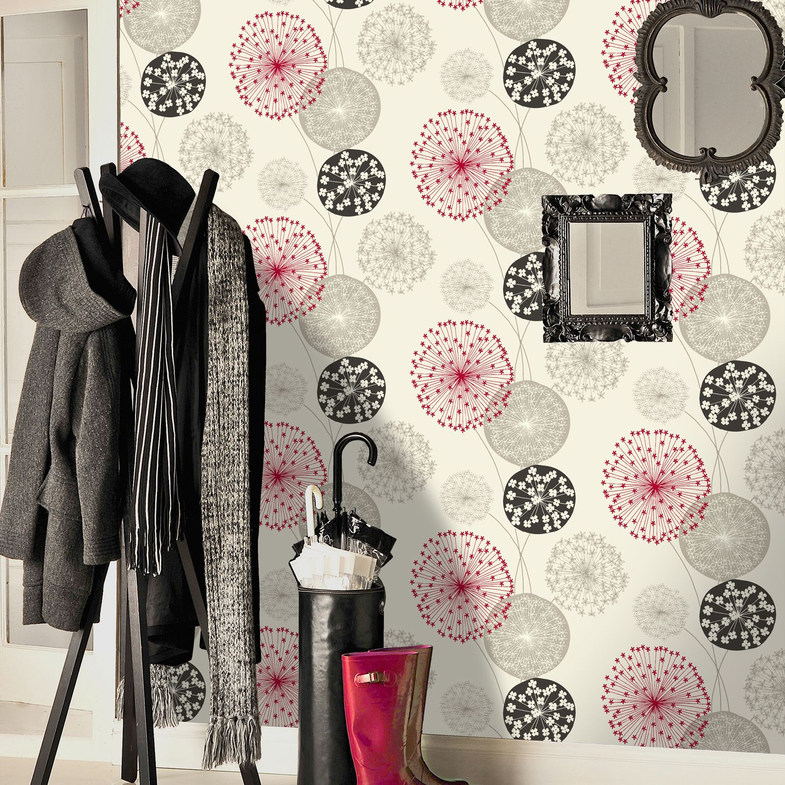 B Q Lucienne Grey Red Floral Wallpaper