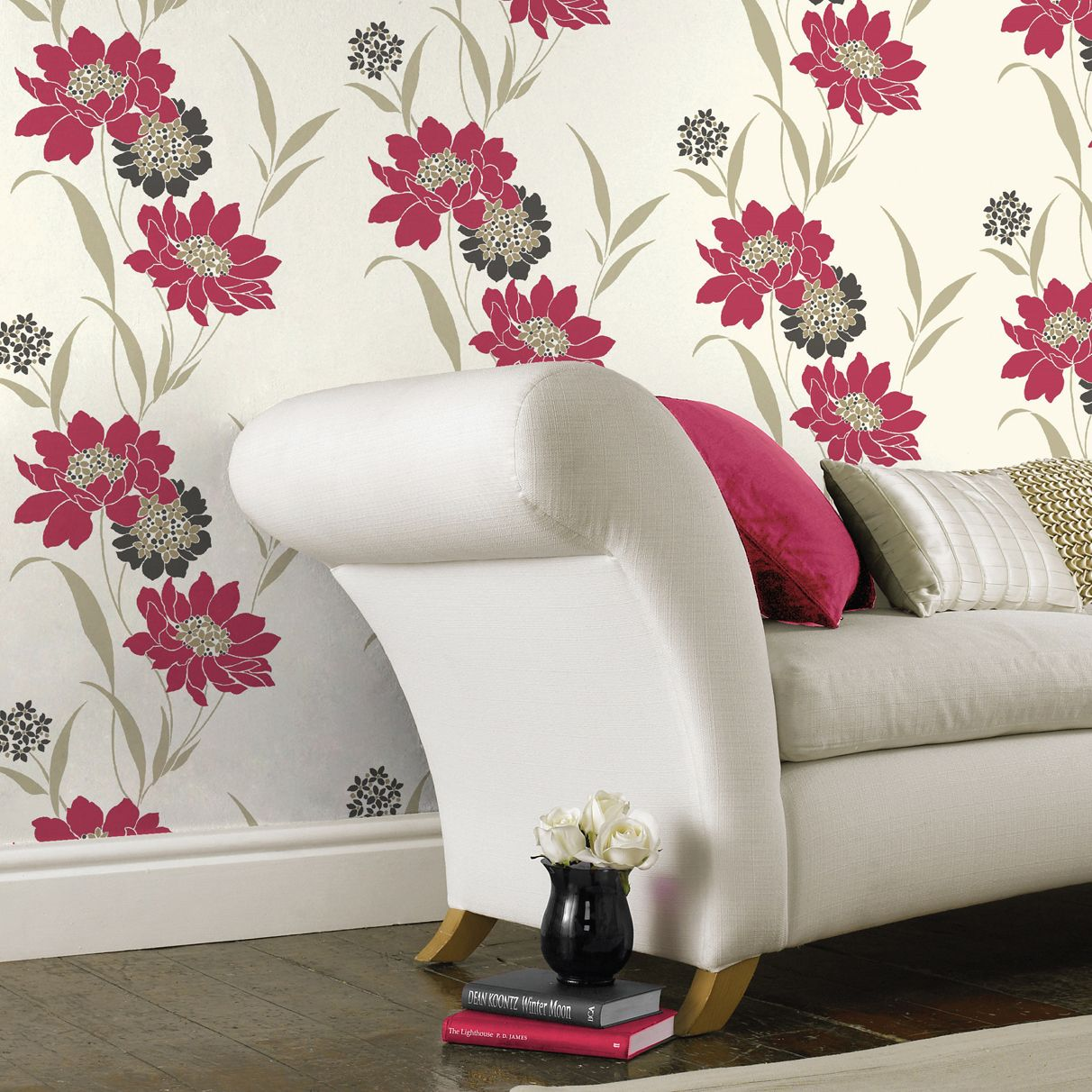 B Q Amala Cream Red Floral Wallpaper