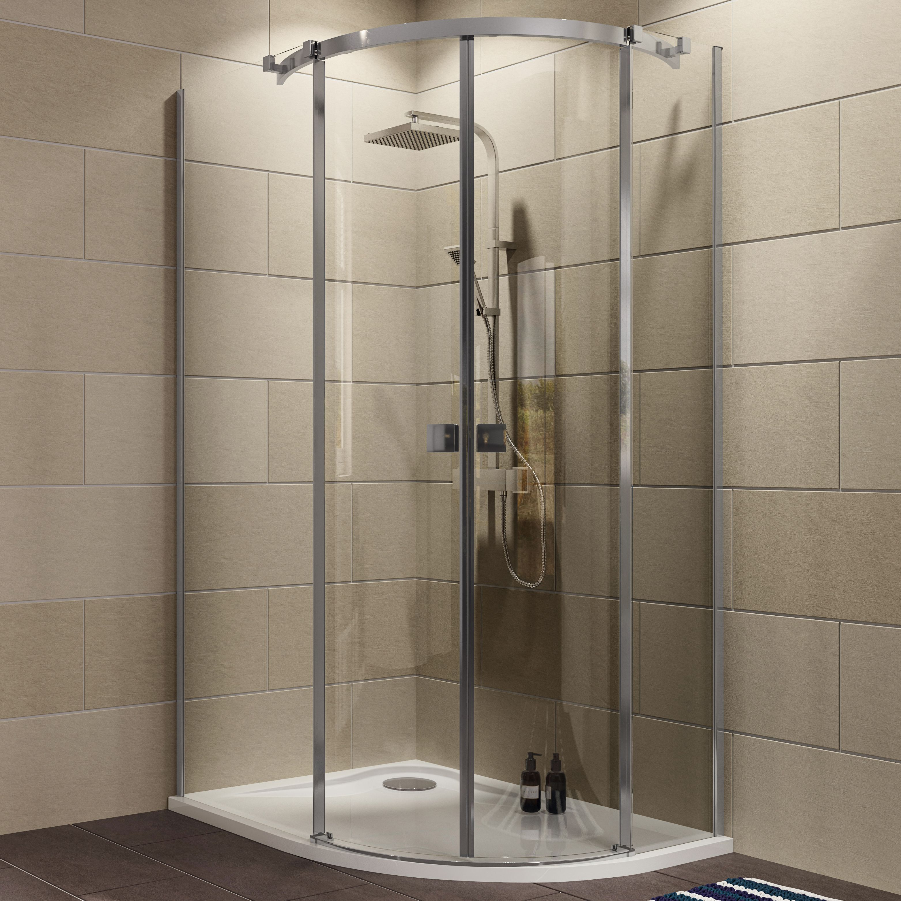 Cooke & Lewis Luxuriant Offset Quadrant LH Shower Enclosure, Tray ...