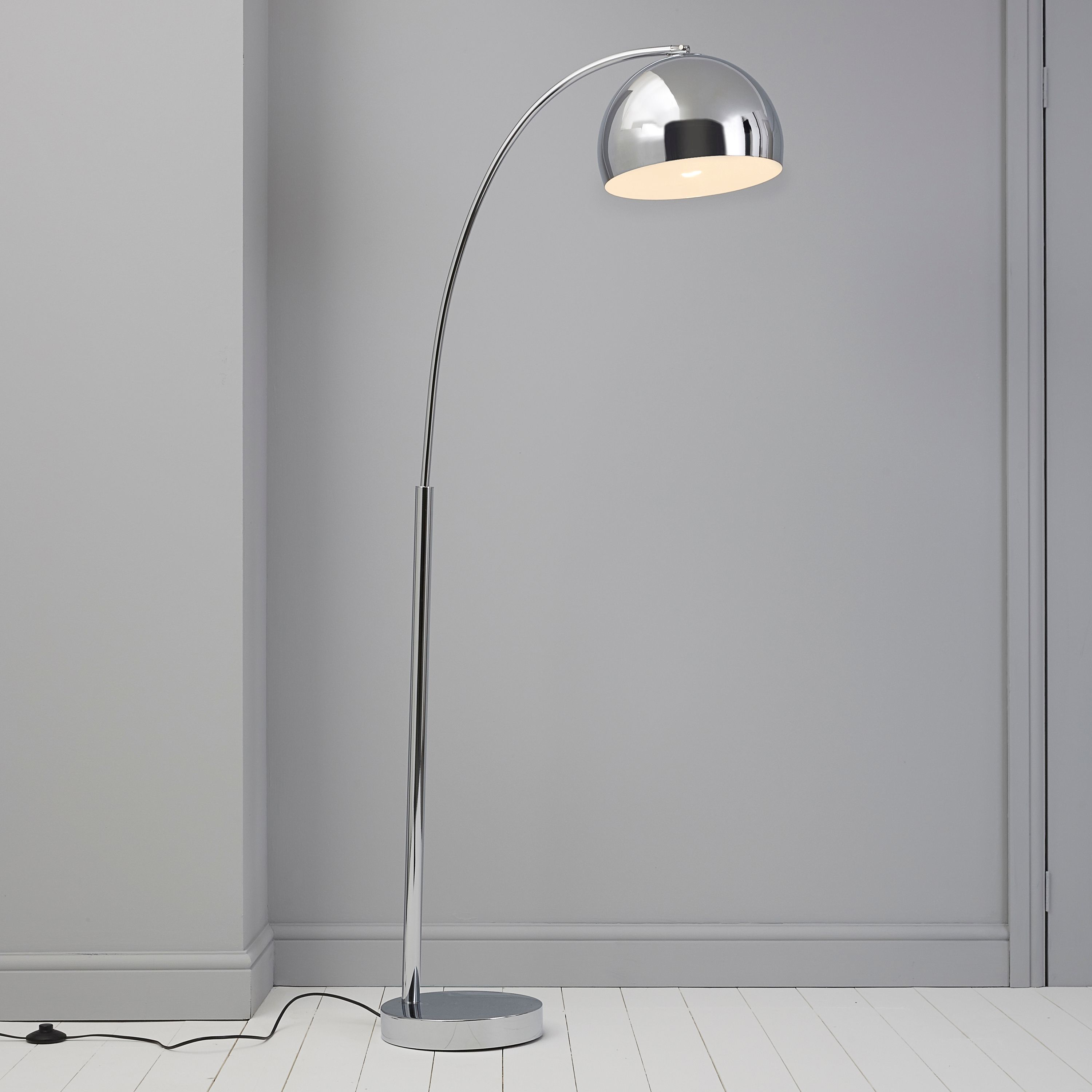 Fresh silver chrome effect floor lamp mozeypictures Image collections
