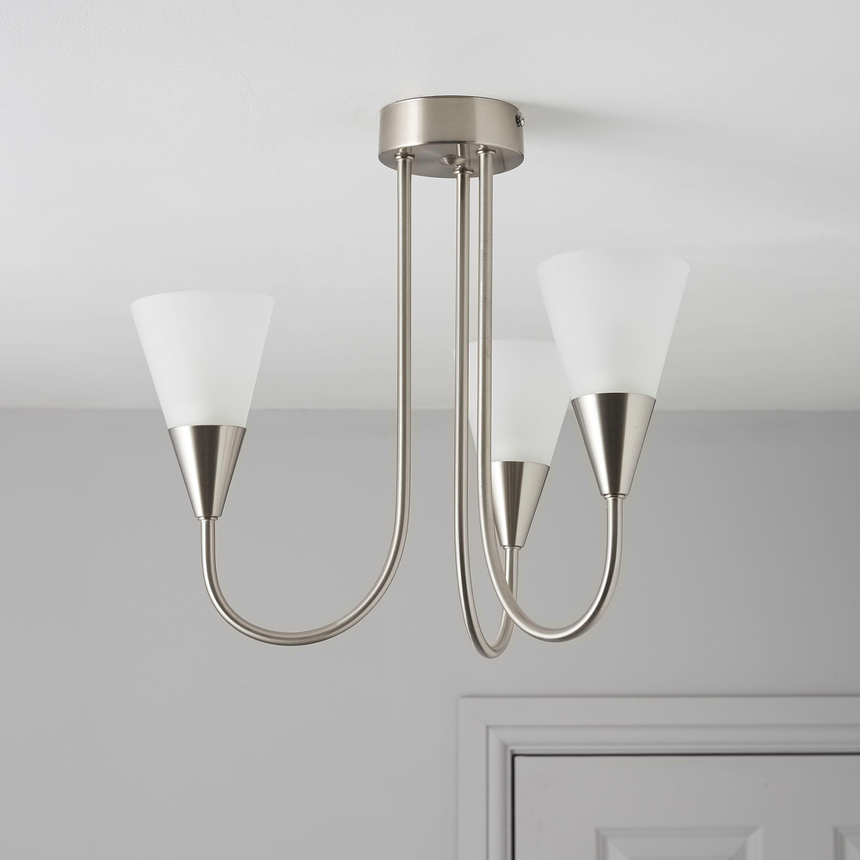 Reya silver nickel effect 3 lamp pendant ceiling light aloadofball Choice Image