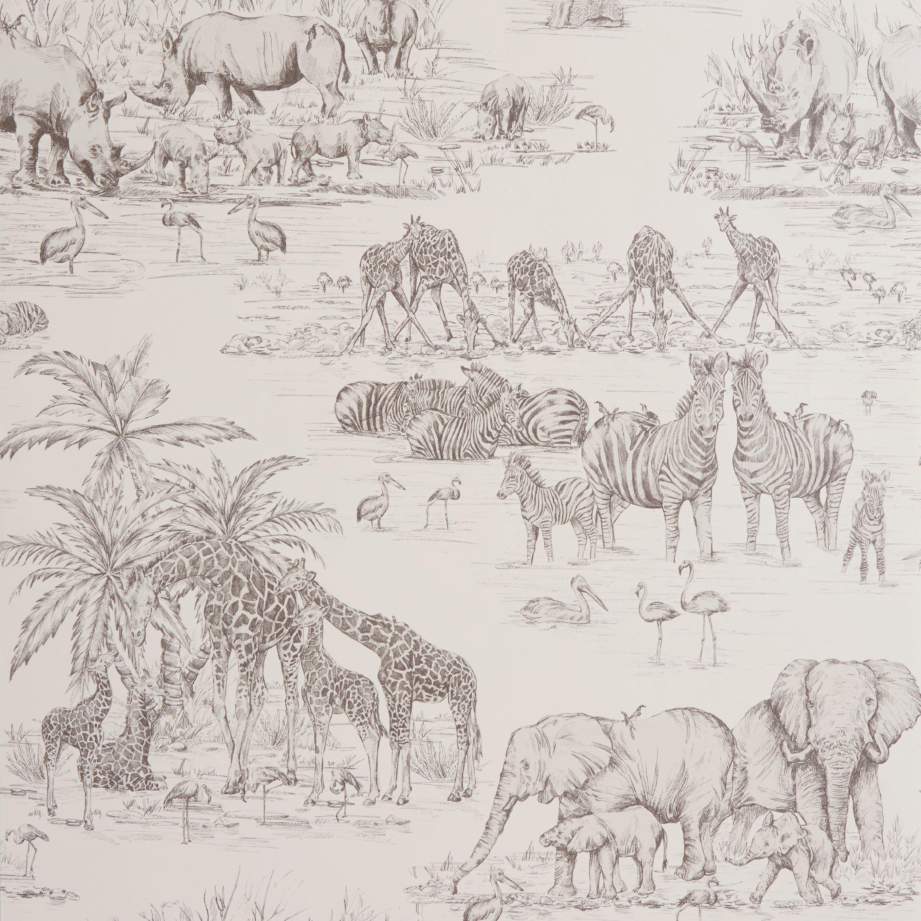 Colours Watering Hole Cream Animal Safari Metallic Wallpaper
