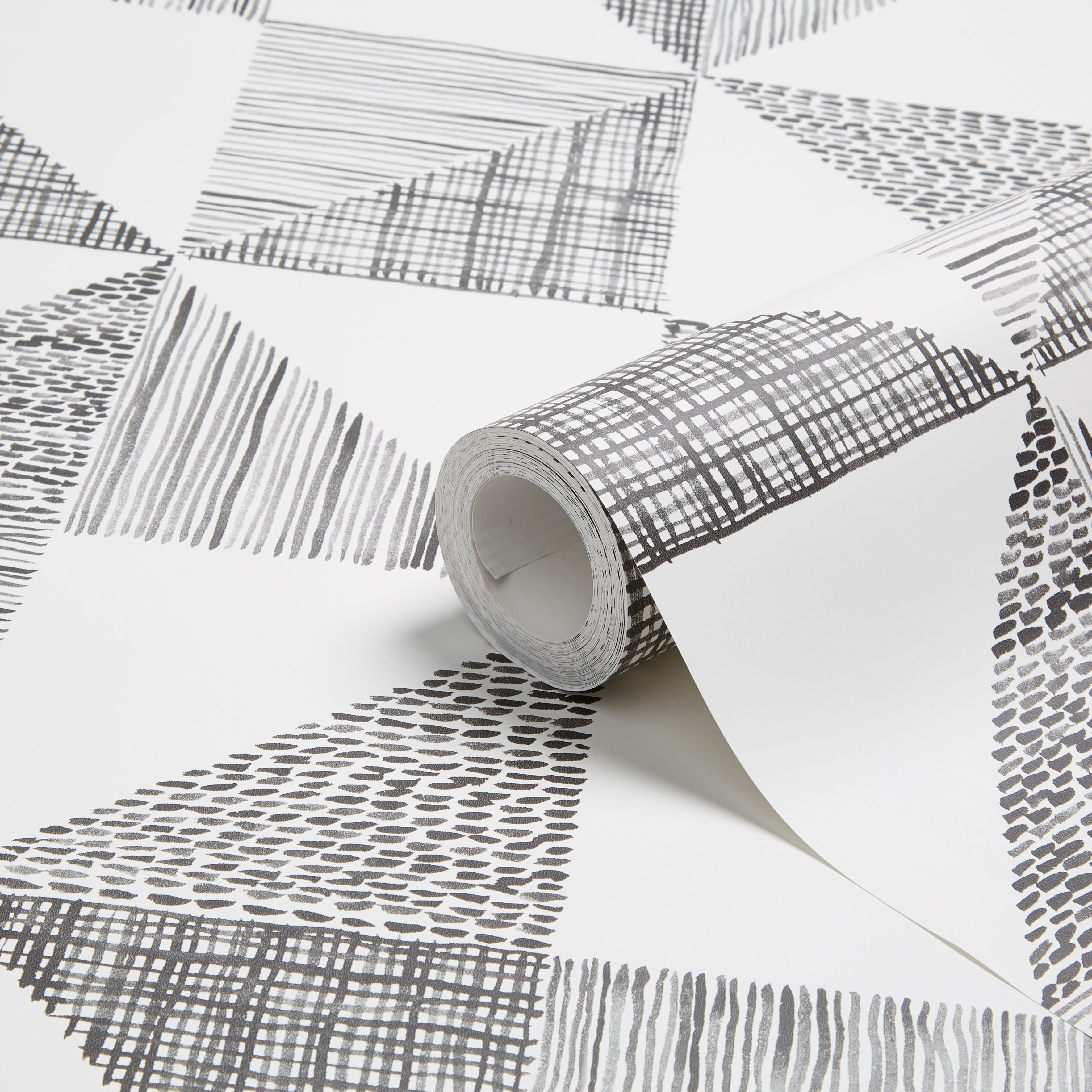Colours Loki Black White Geometric Wallpaper