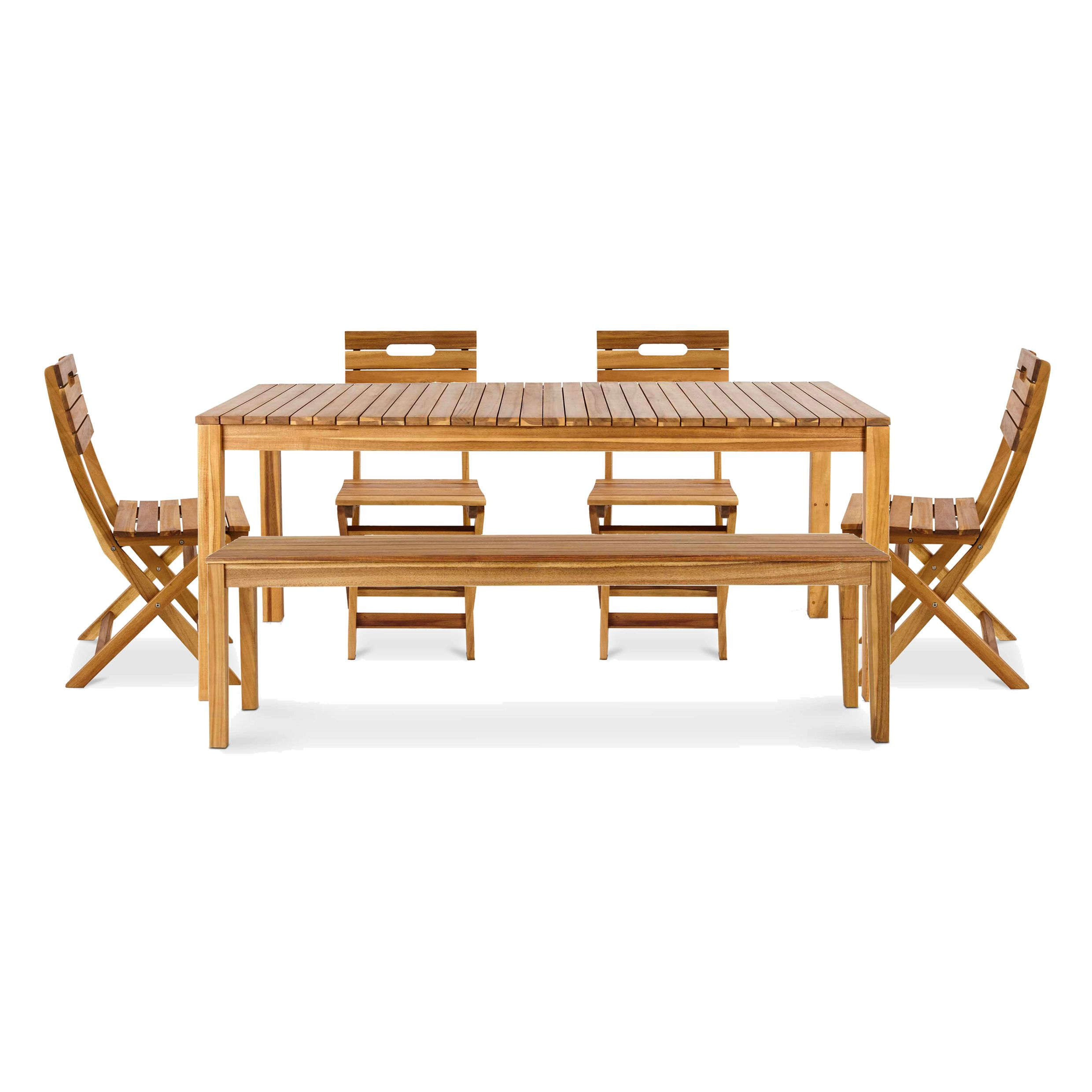 Excellent Denia Wooden 6 Seater Dining Set With Bench Gmtry Best Dining Table And Chair Ideas Images Gmtryco