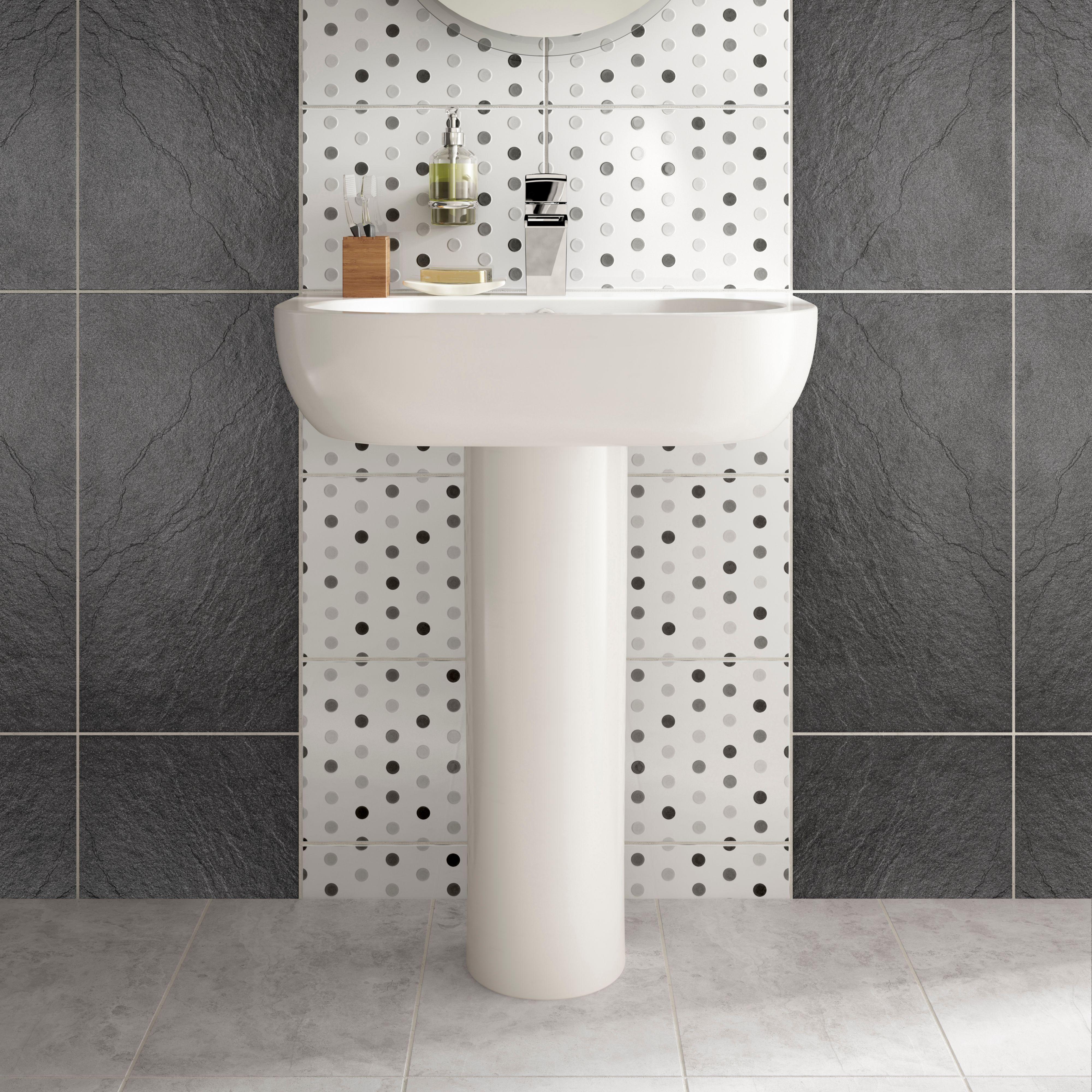 Magma Black Stone Effect Plain Porcelain Wall & Floor Tile, Pack of ...