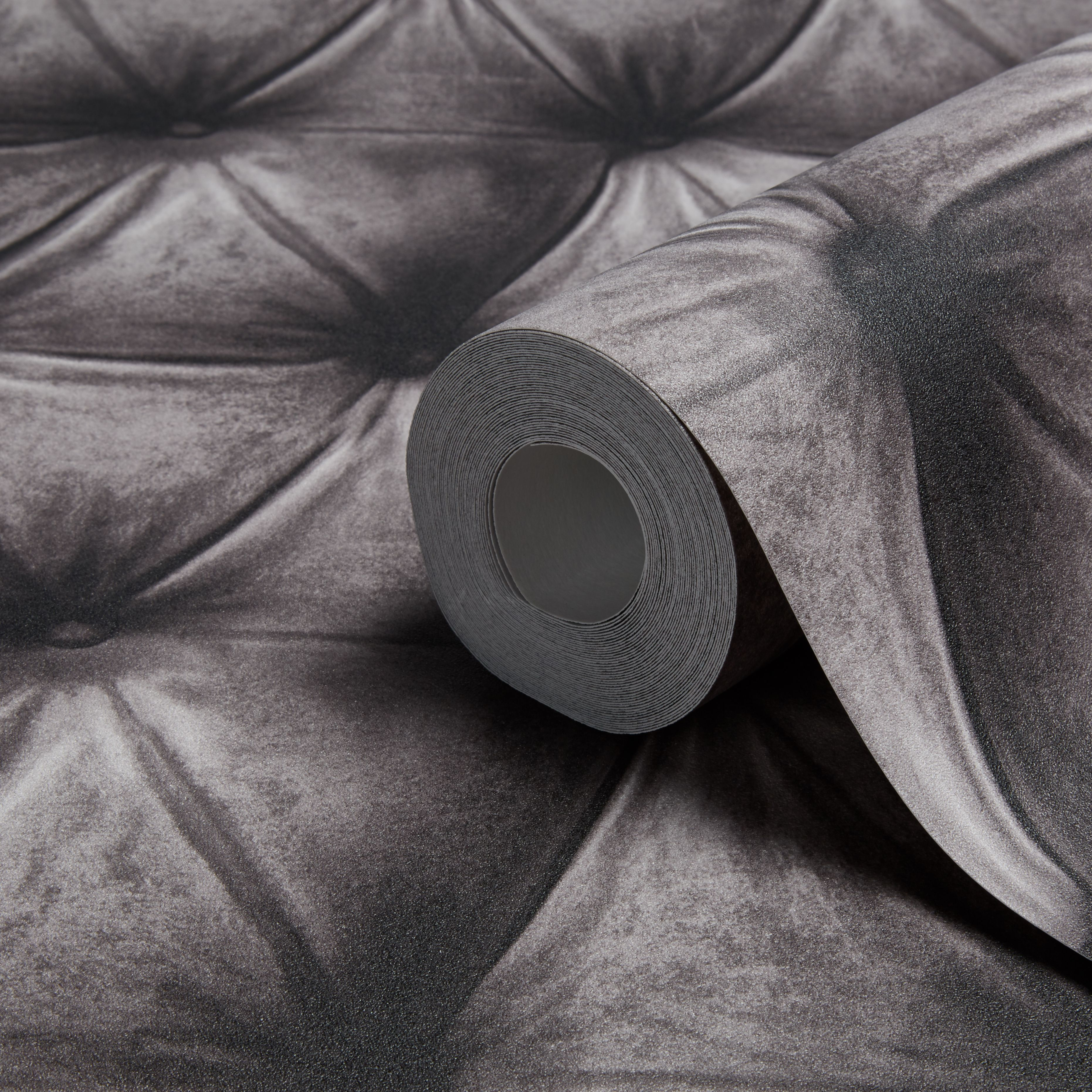 A S Creation New England Grey Padded Leather Effect Wallpaper