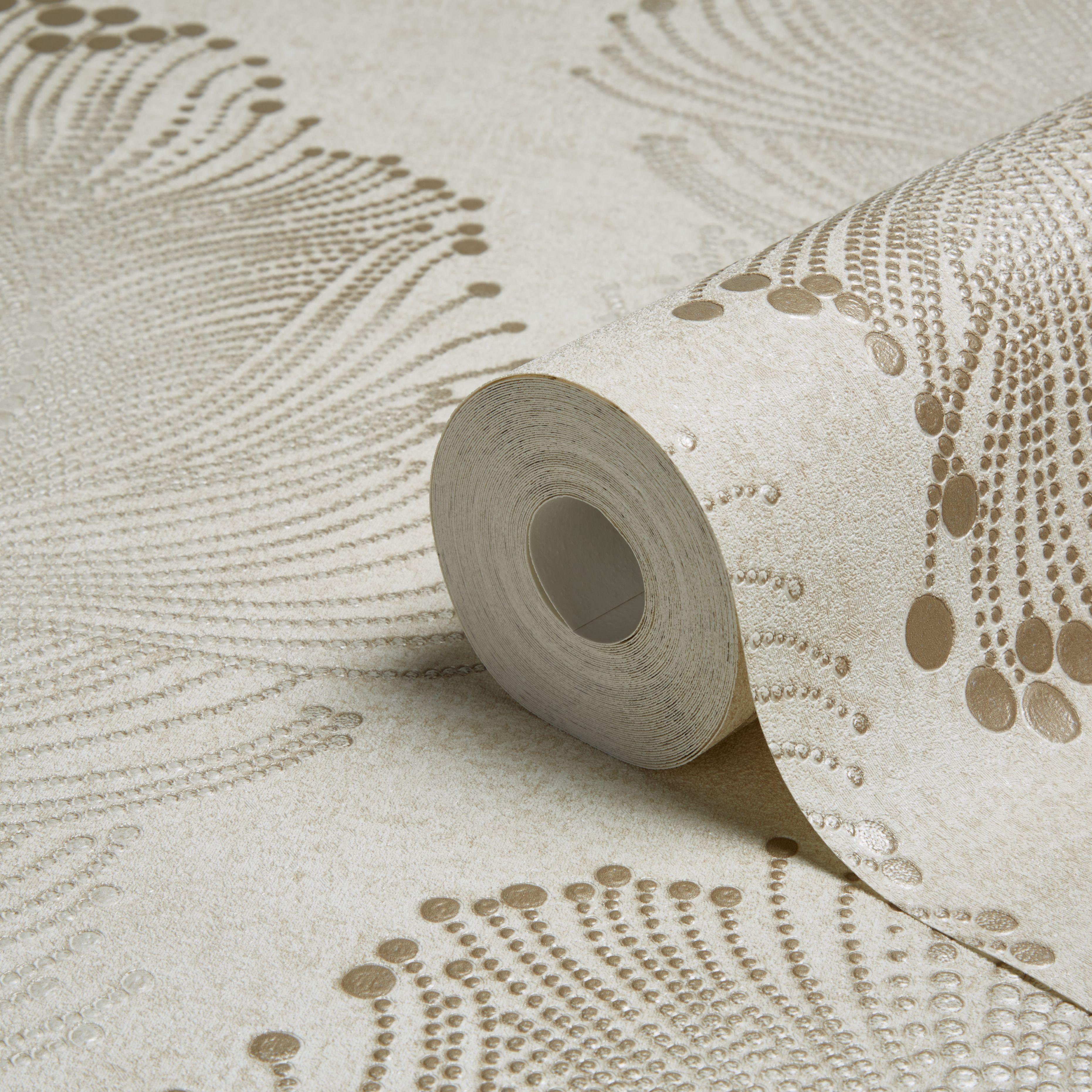 A.S. Creation Bohemian Burlesque Gold & Beige Feather Print Metallic ...