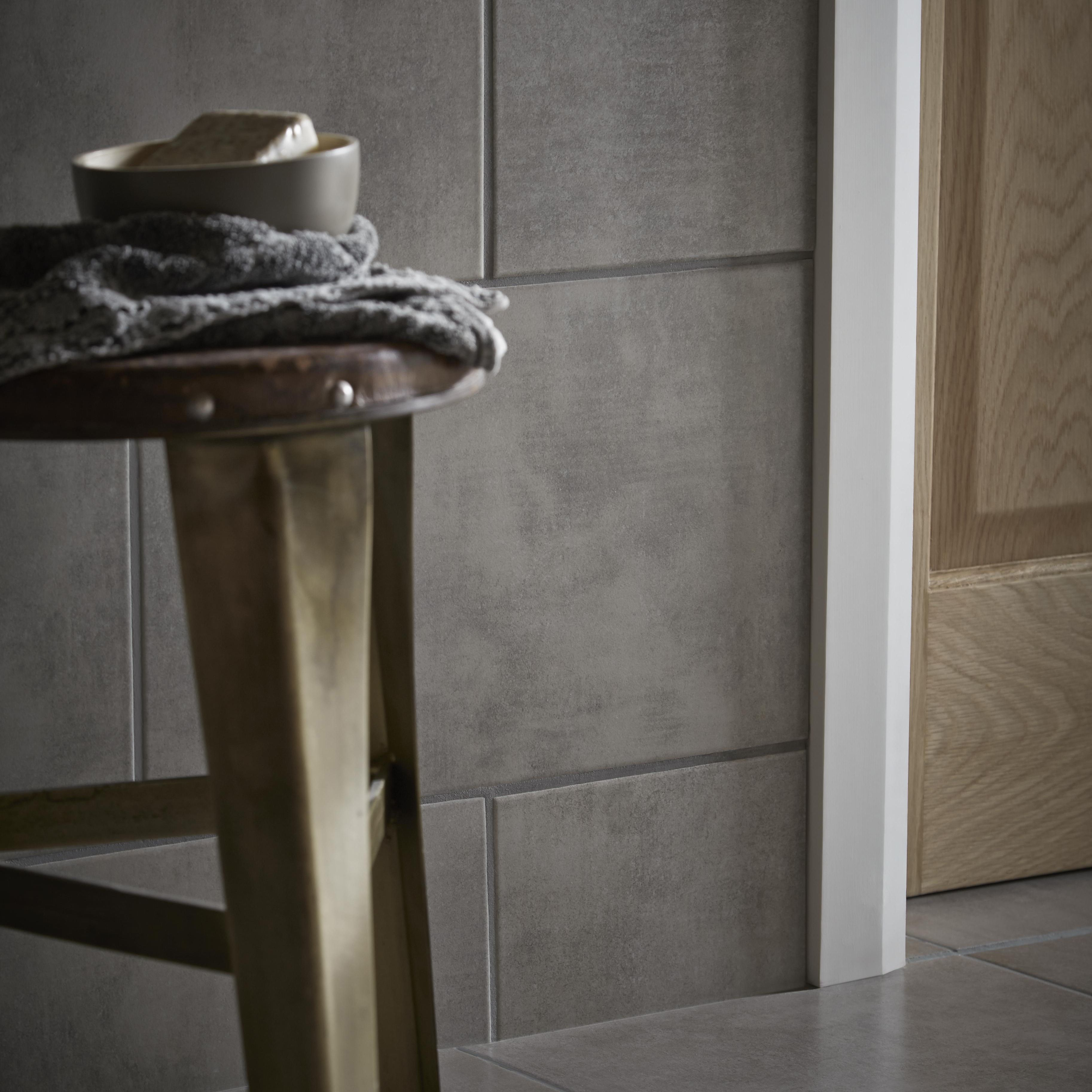 lombardy platinum ceramic wall tile pack of 10 l 400mm w 250mm