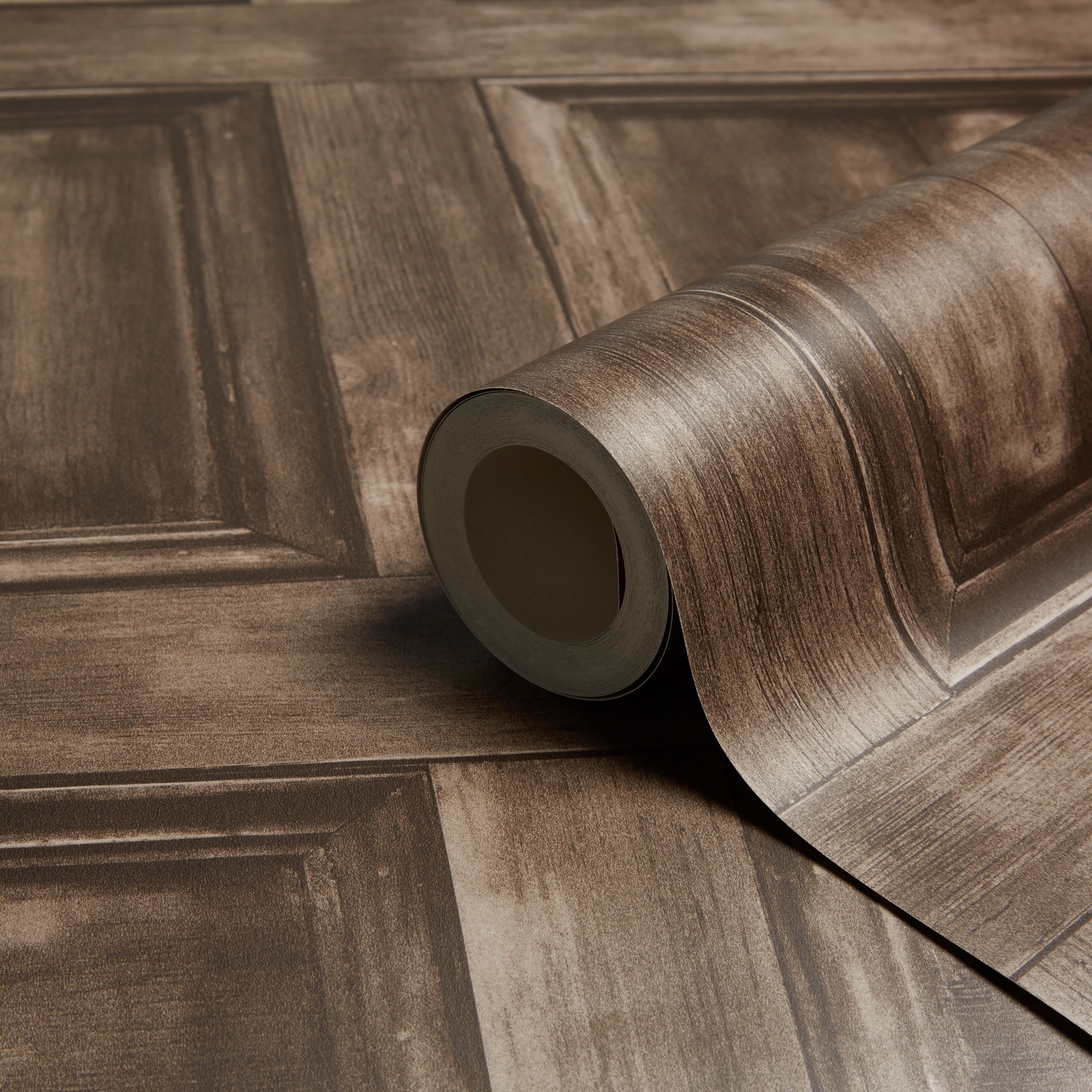 Fine Decor Wood Panel Choc Wallpaper