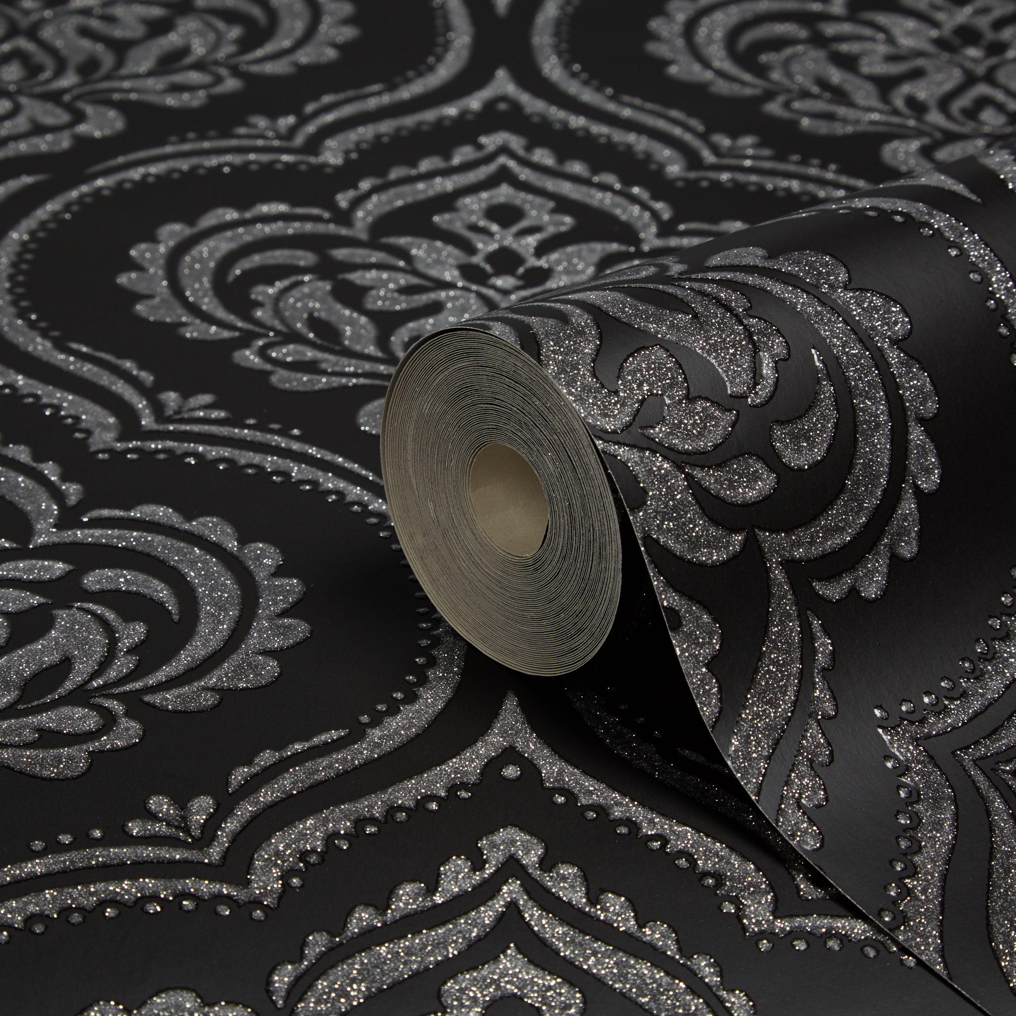 Fine Decor Ornamental Damask Black Glitter Effect Wallpaper