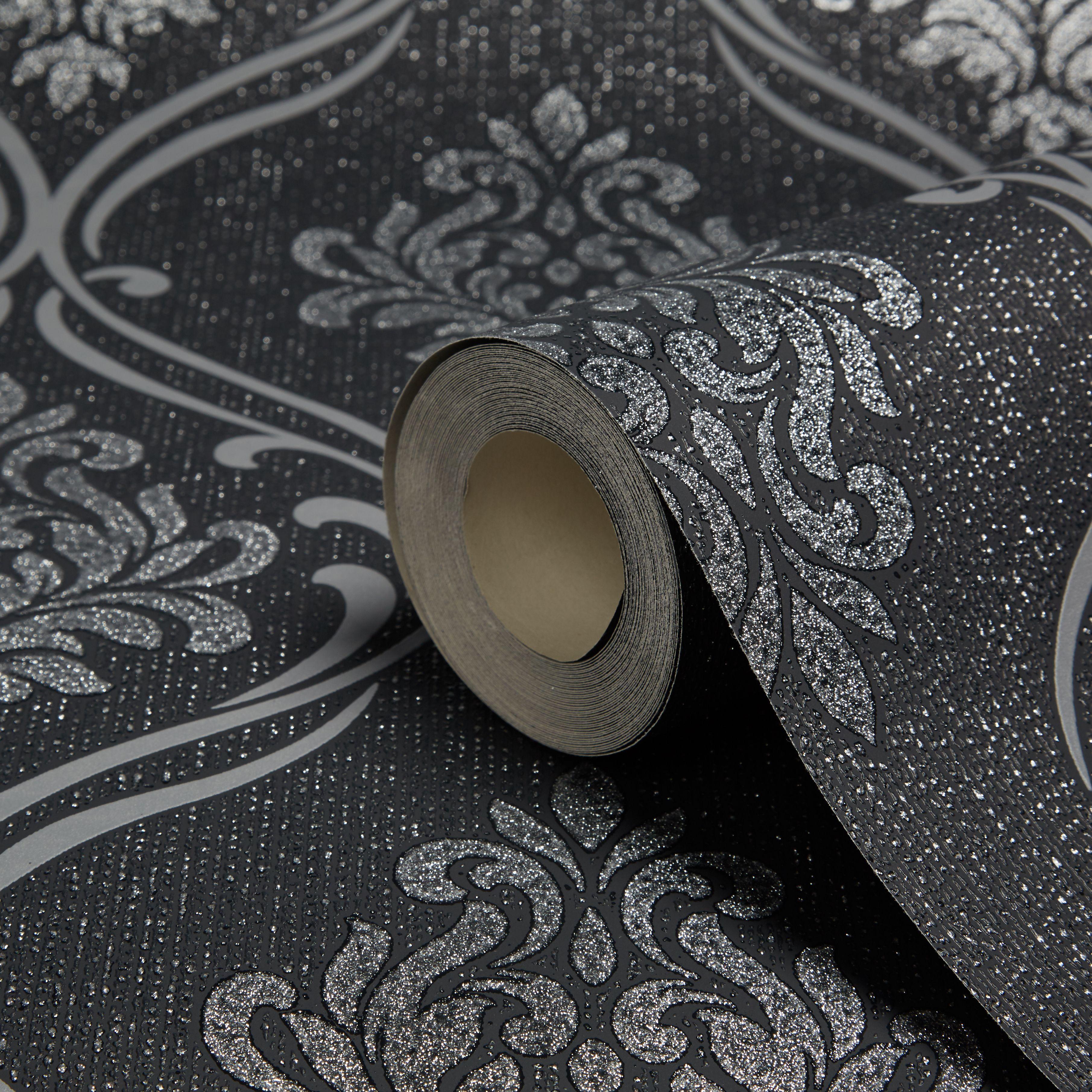 Fine Decor Winchester Black Silver Damask Wallpaper
