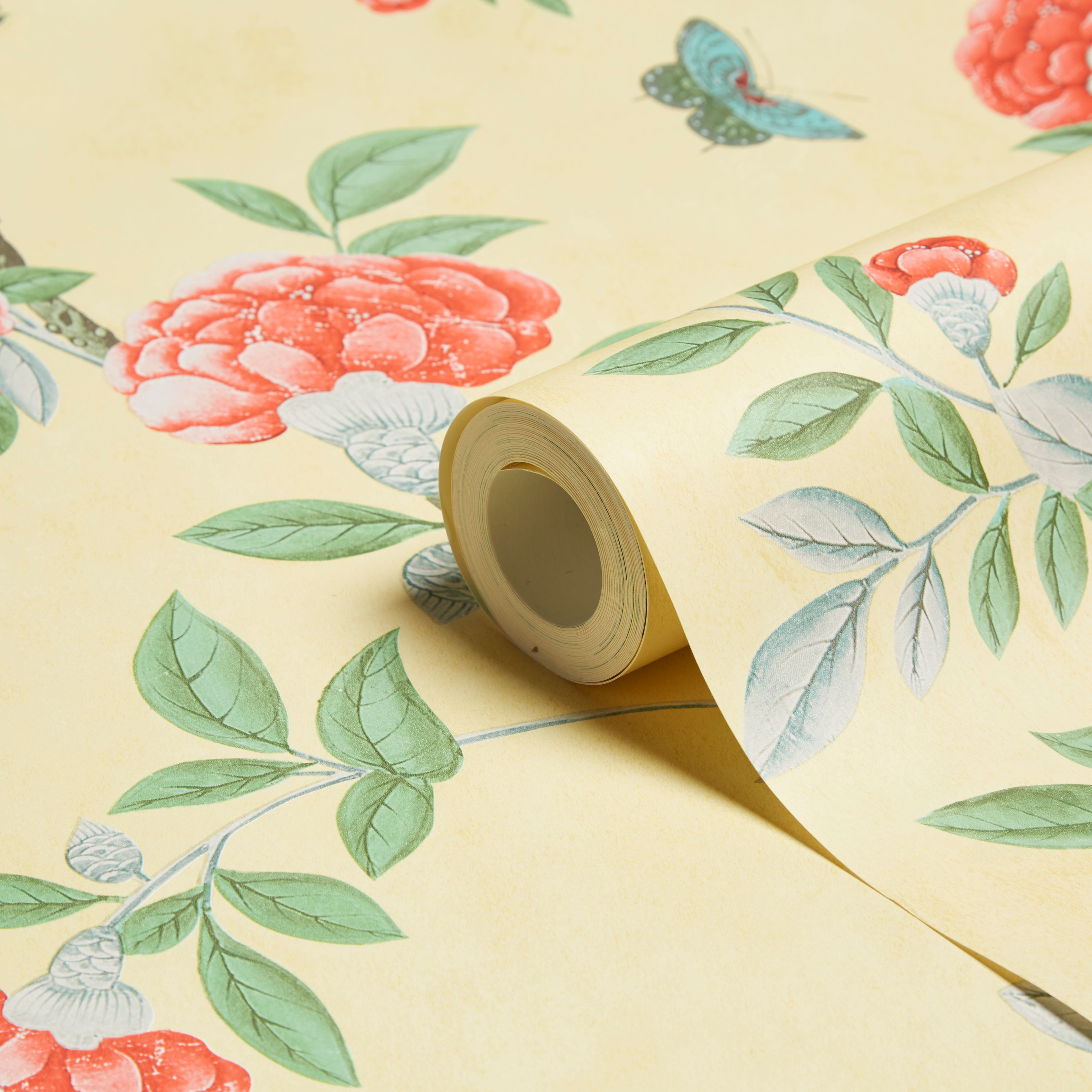 Graham Brown Chinoiserie Imperial Yellow Floral Wallpaper