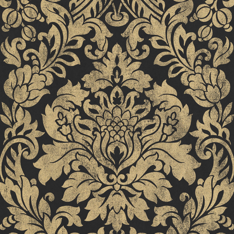 Graham Brown Artisan Black Gold Gloriana Metallic Wallpaper