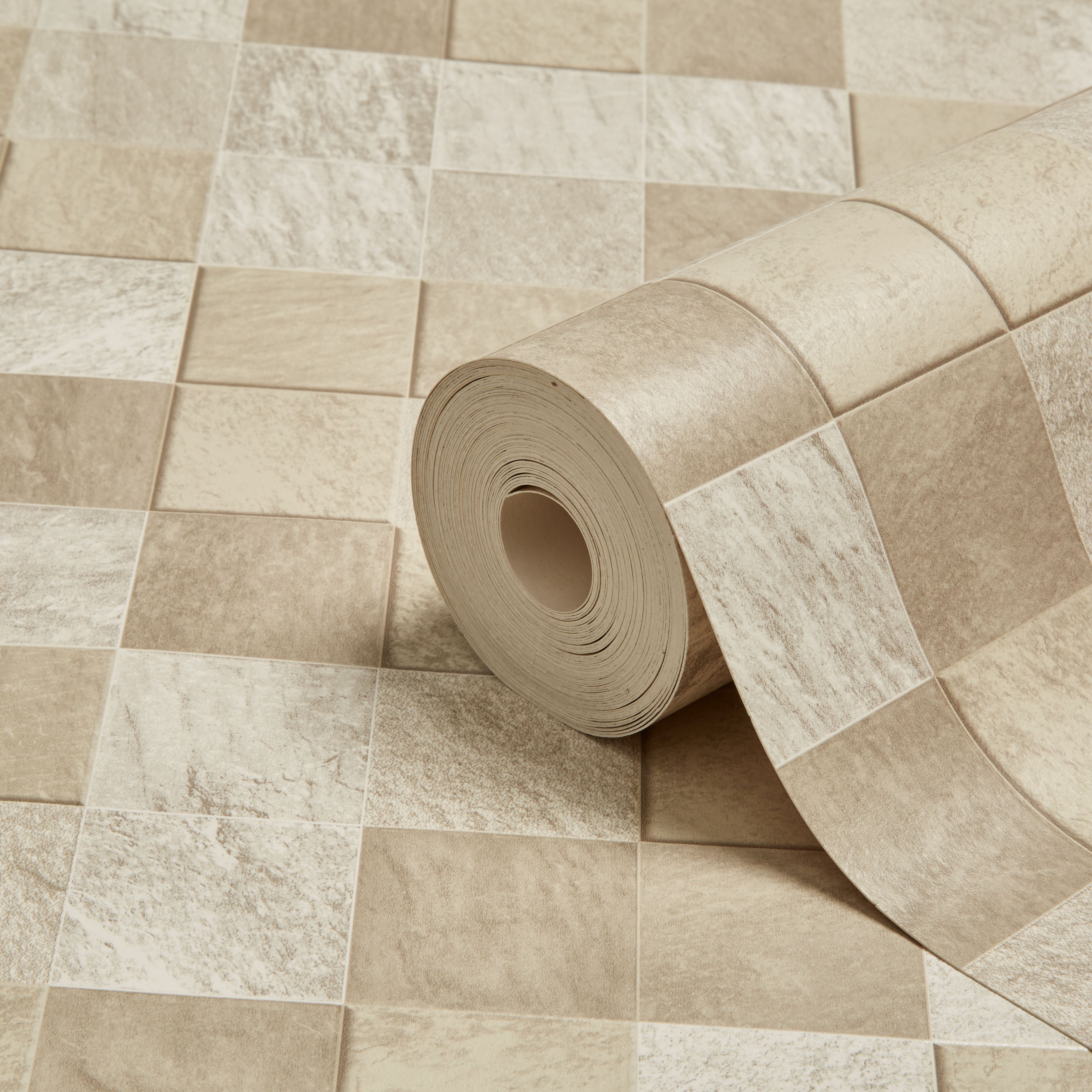 Graham Brown Contour Beige Natural Stone Tile Kitchen Bathroom Wallpaper