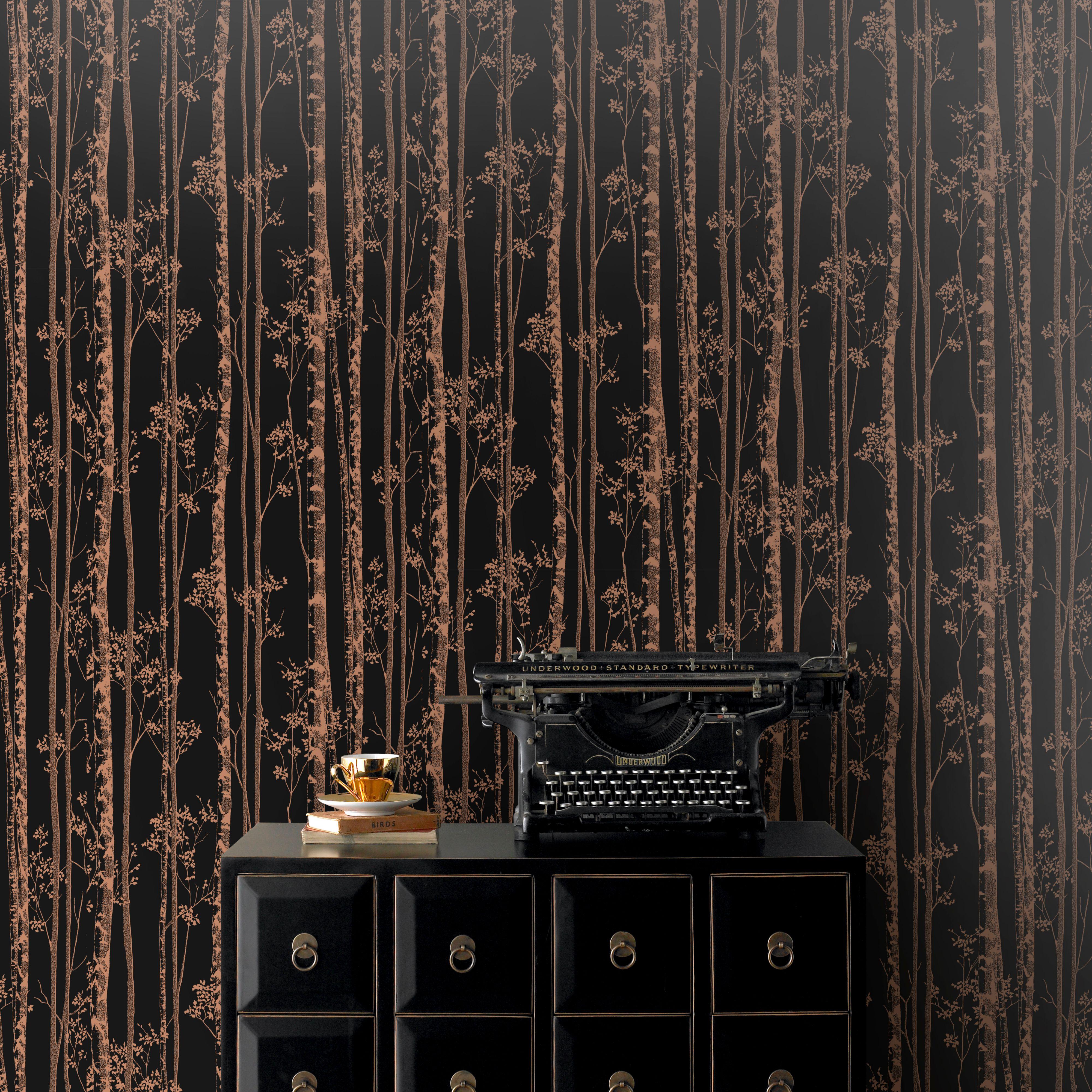 Pure Black Copper Linden Metallic Effect Wallpaper