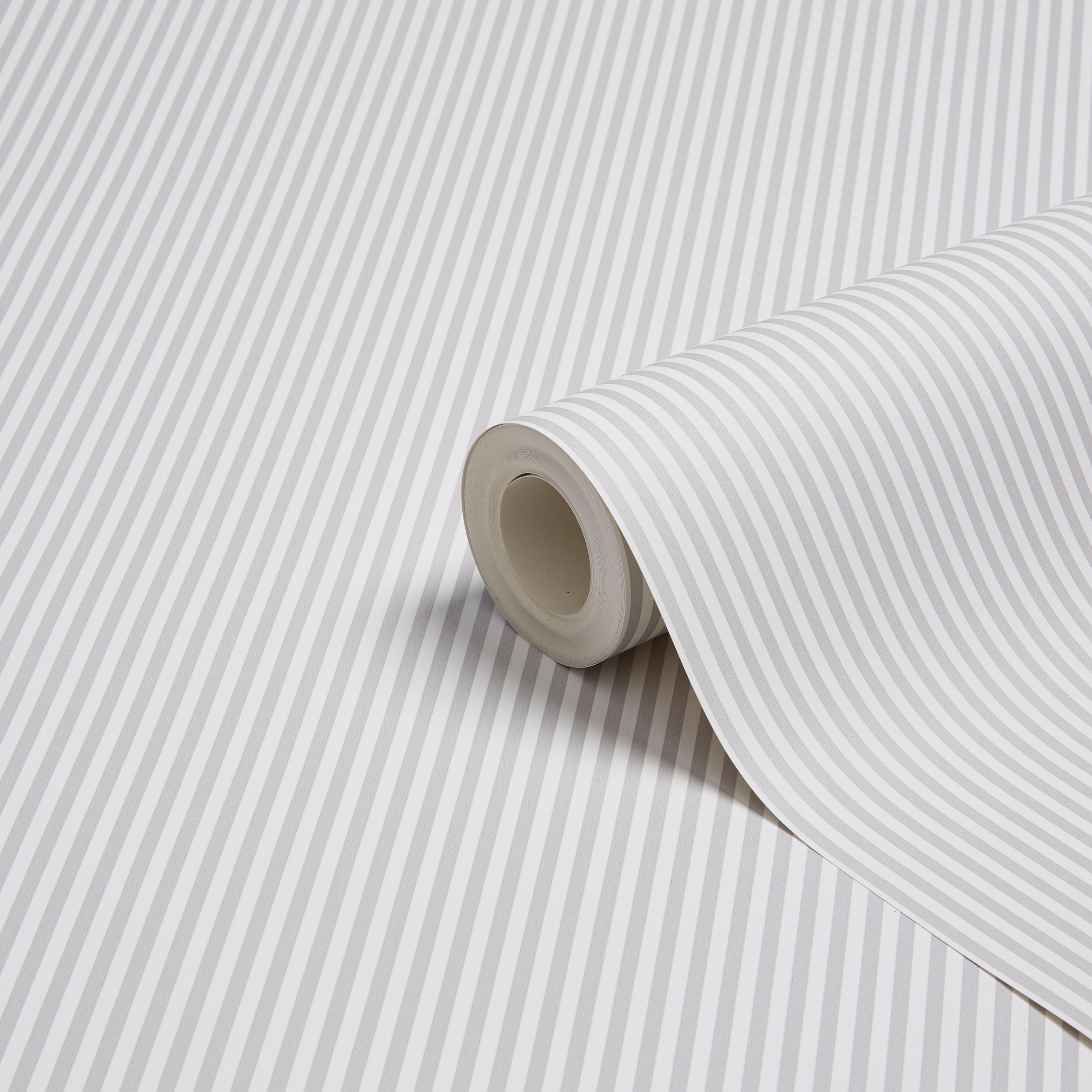 Graham Brown Fresco Grey White Slim Stripe Wallpaper