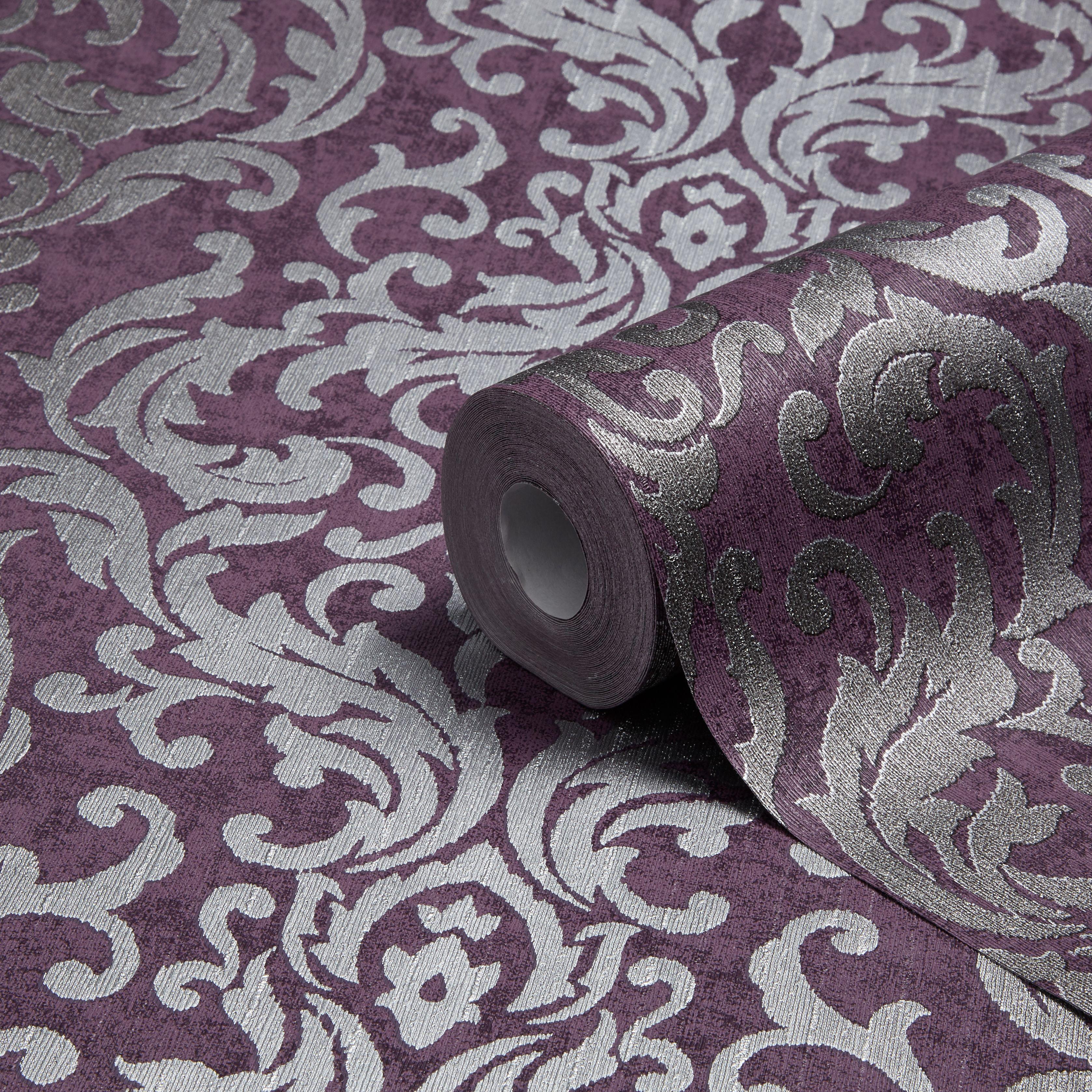 Graham Brown Drama Purple Damask Metallic Wallpaper