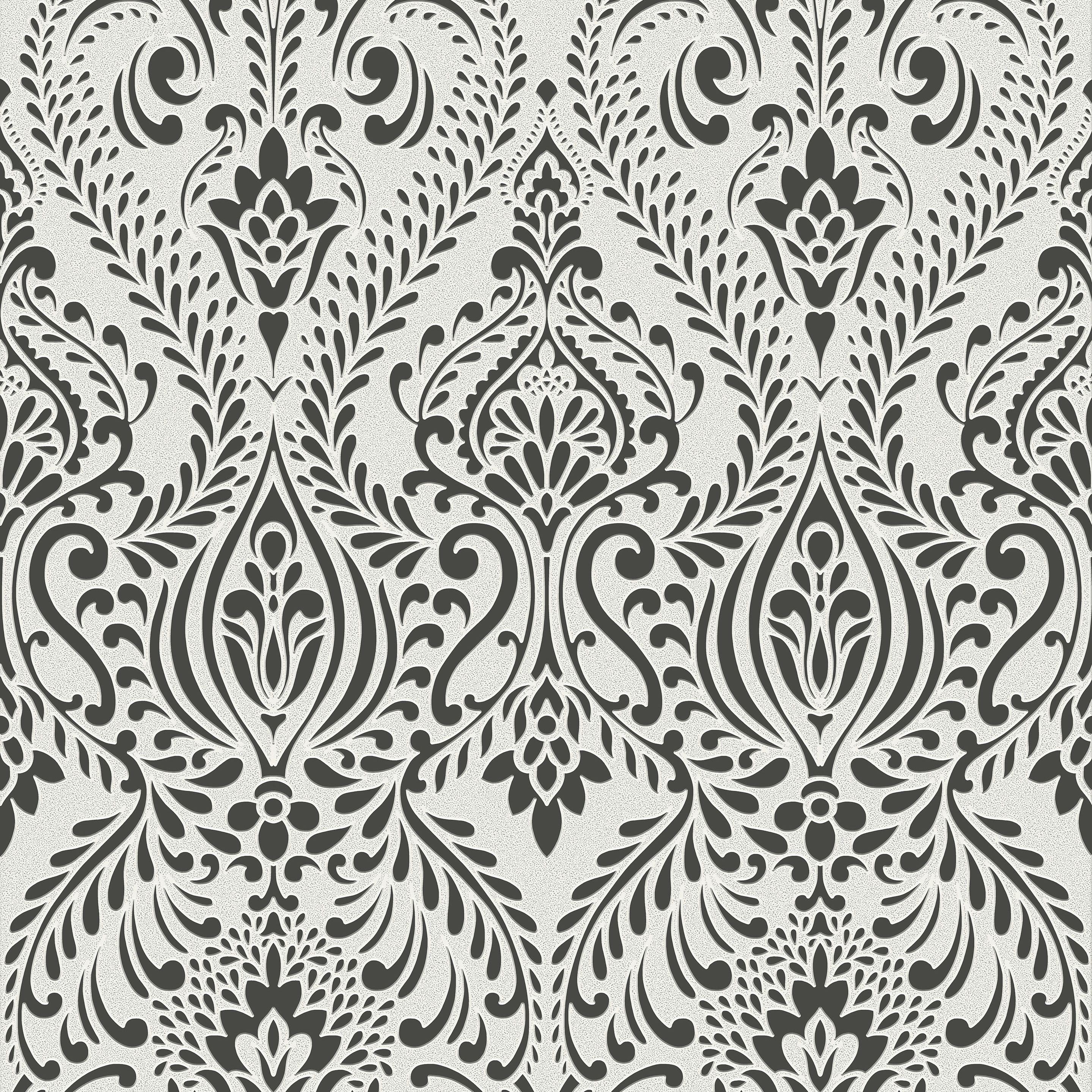 Graham Brown Superfresco Black White Damask Wallpaper