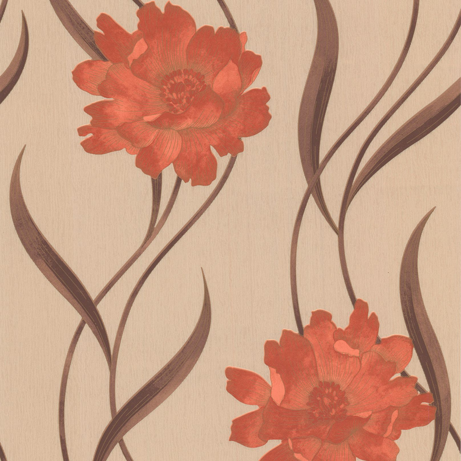 Graham Brown Superfresco Brown Red Floral Wallpaper