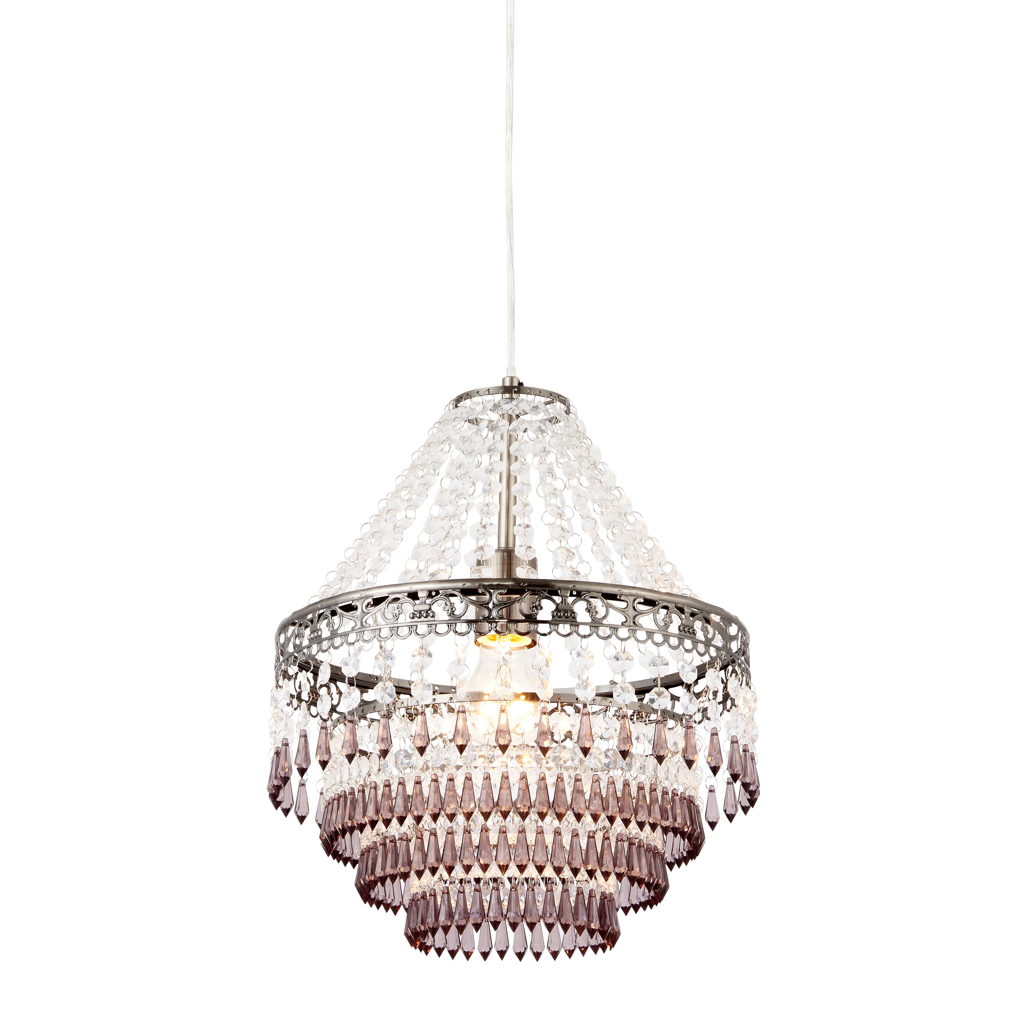 Picture of: Corinna Crystal Beaded Pewter Pendant Ceiling Light