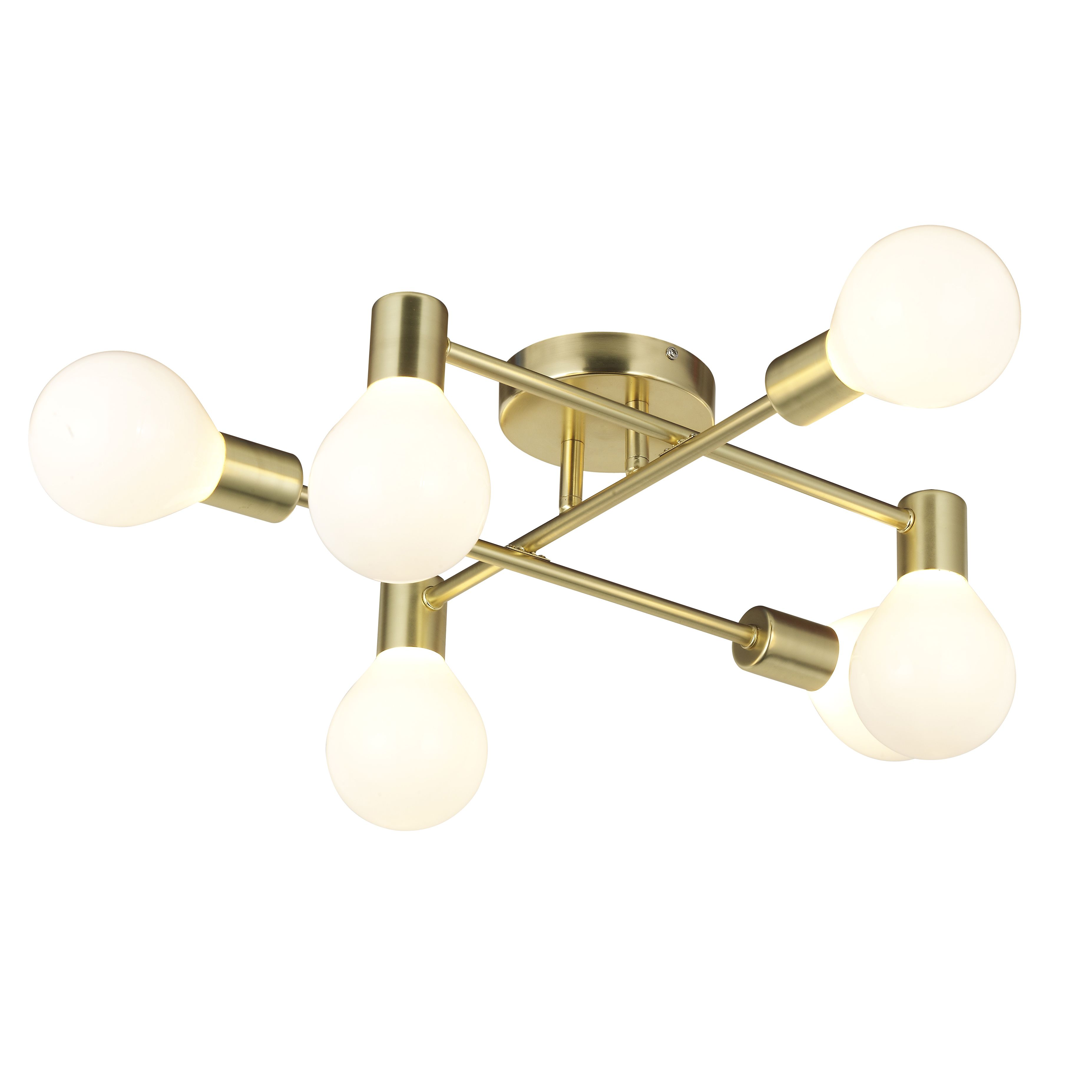 new style 9e3f0 23e47 Channing Modern Gold Satin Brushed 6 Lamp Ceiling Light