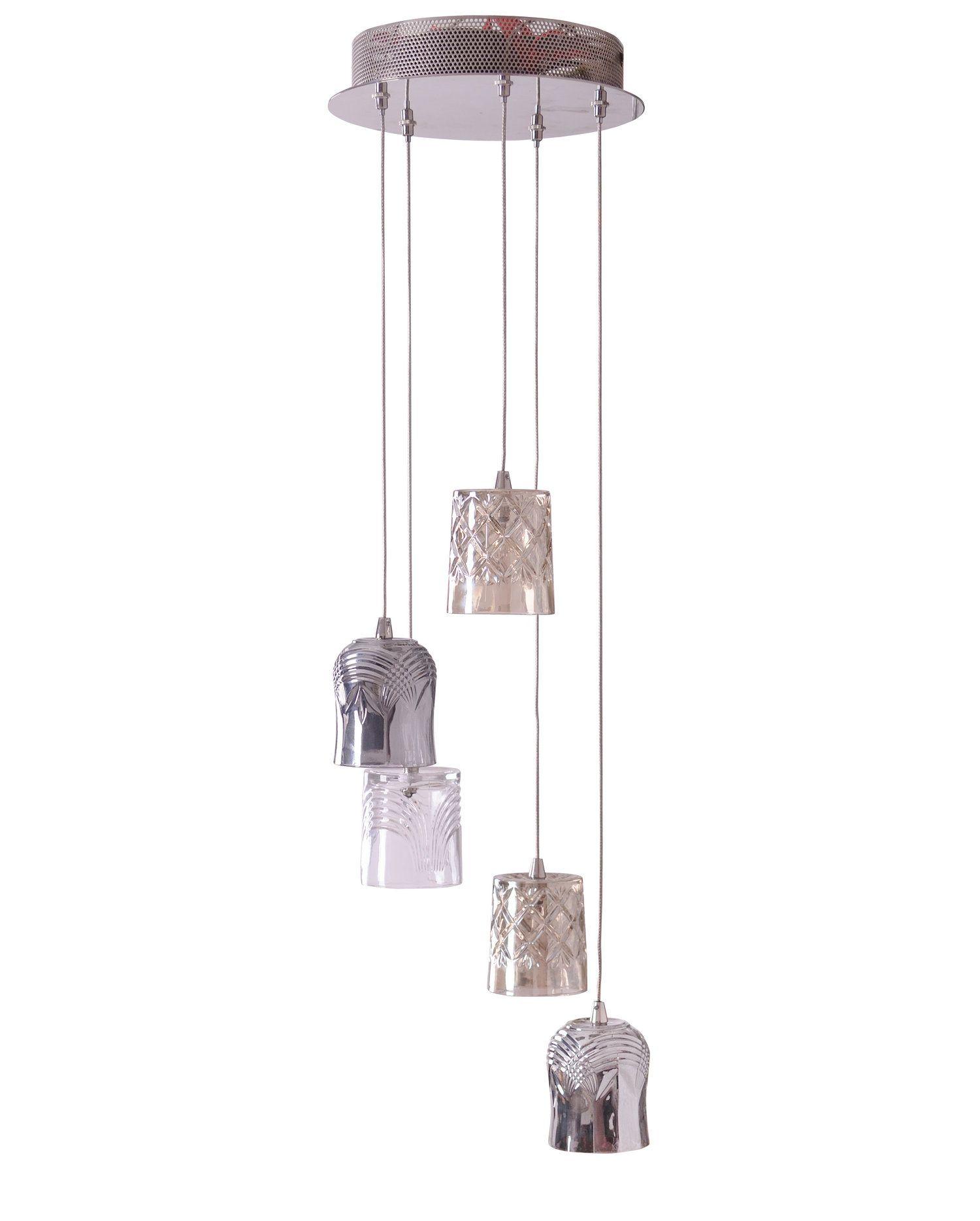 Brogo Cer Nickel Effect 5 Lamp Pendant Ceiling Light