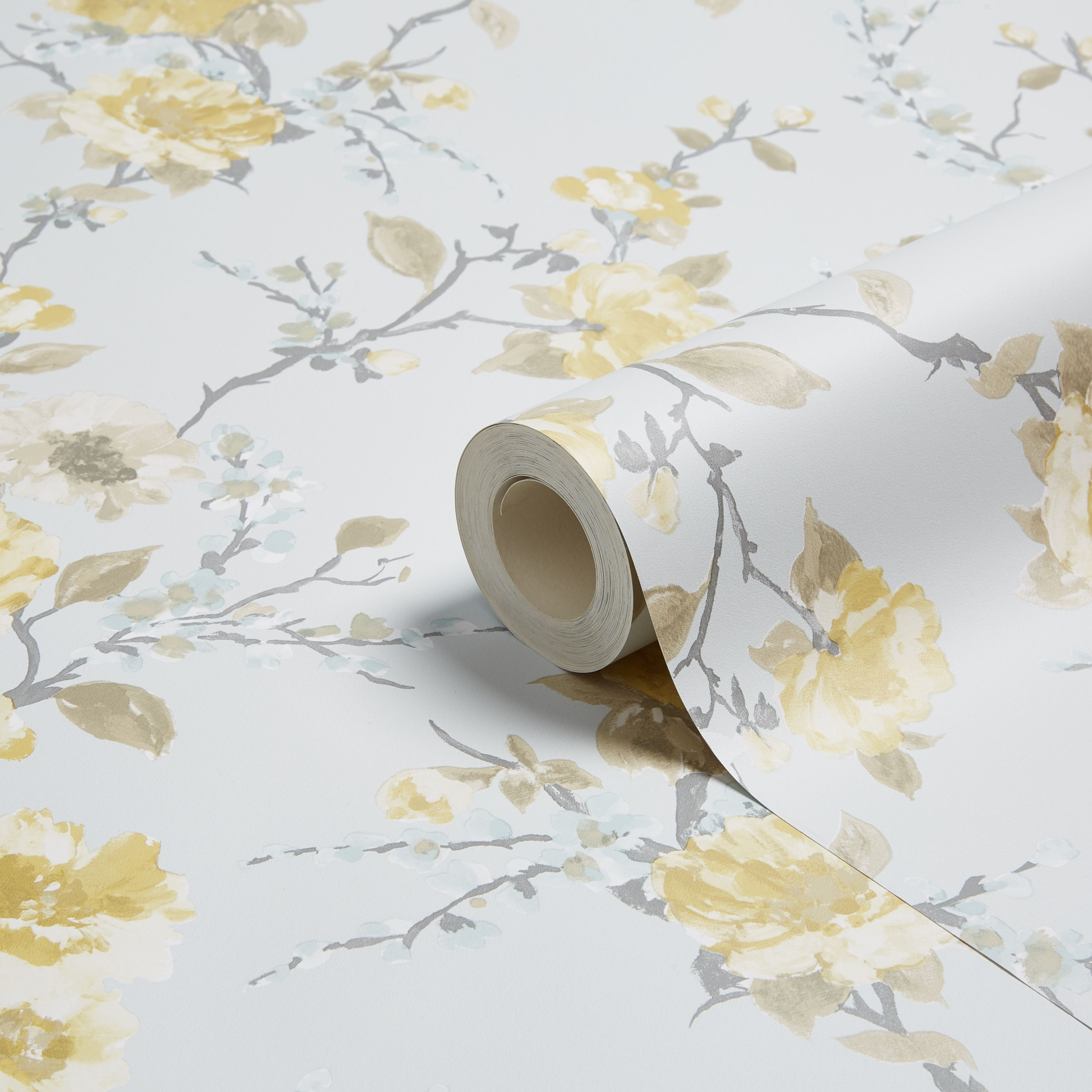 K2 Lucy Duck Egg Yellow Floral Wallpaper