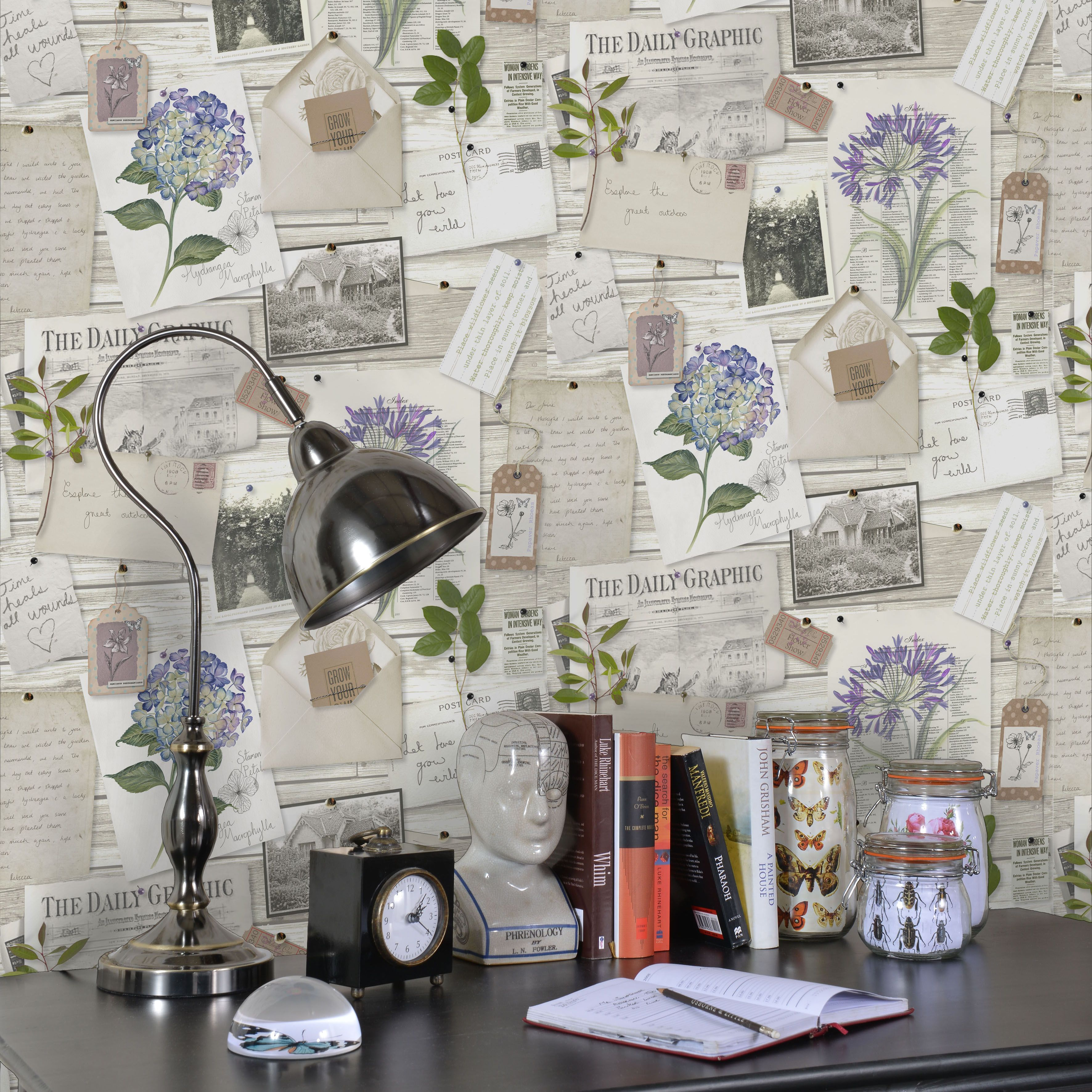 K2 Botanical Collage Floral Wallpaper
